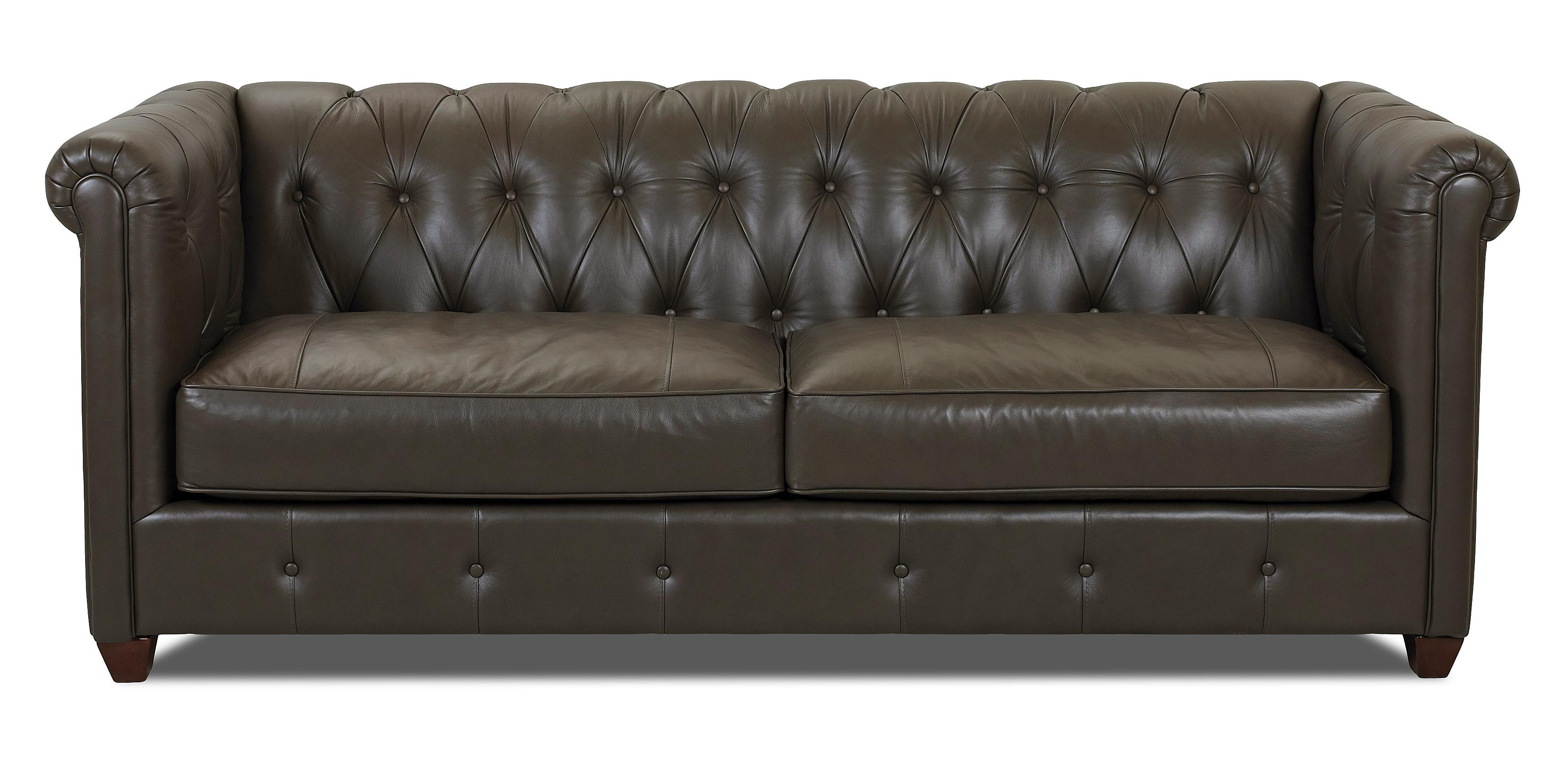 Klaussner Beech Mountain Traditional Chesterfield Sofa with Rolled Arms and Tufting Value City