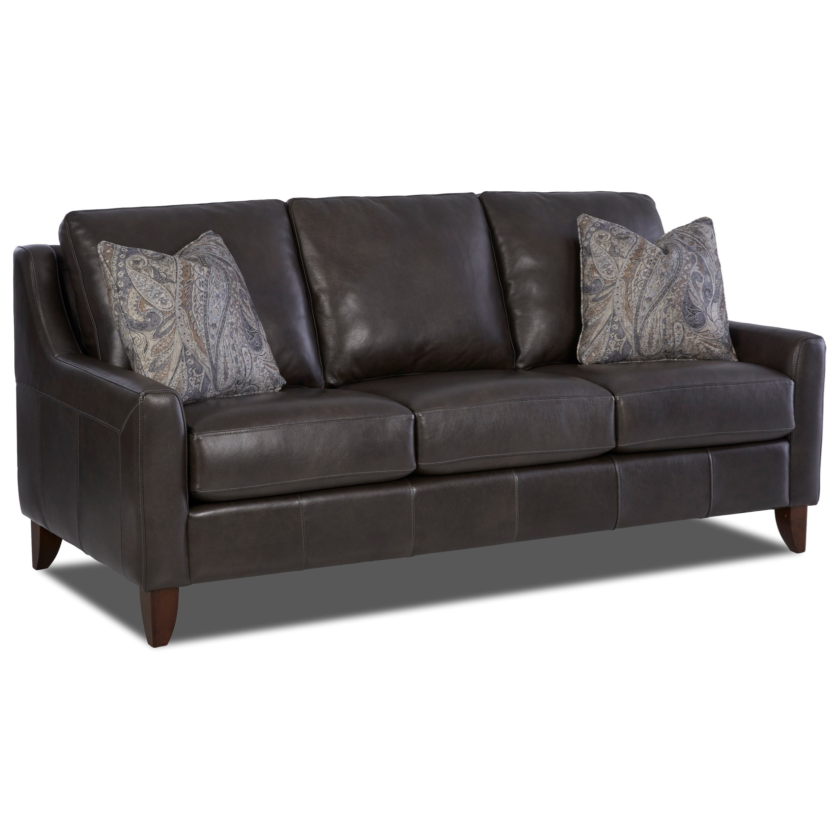 Klaussner belton leather sofa with track arms and fabric for Cushions for leather sofas