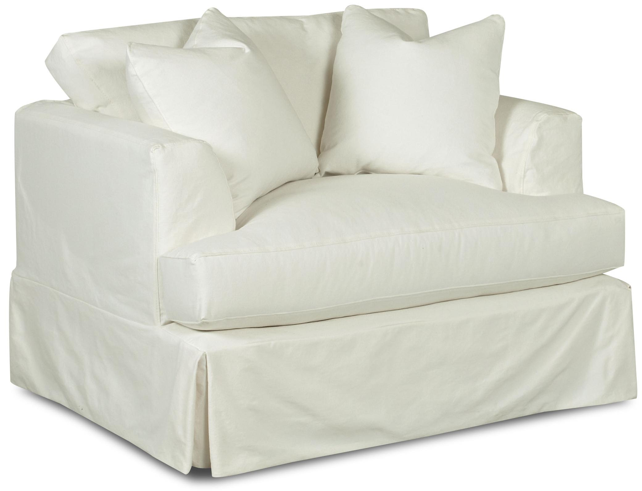 Bentley Oversized Slipcover Chair with Flared Track Arms