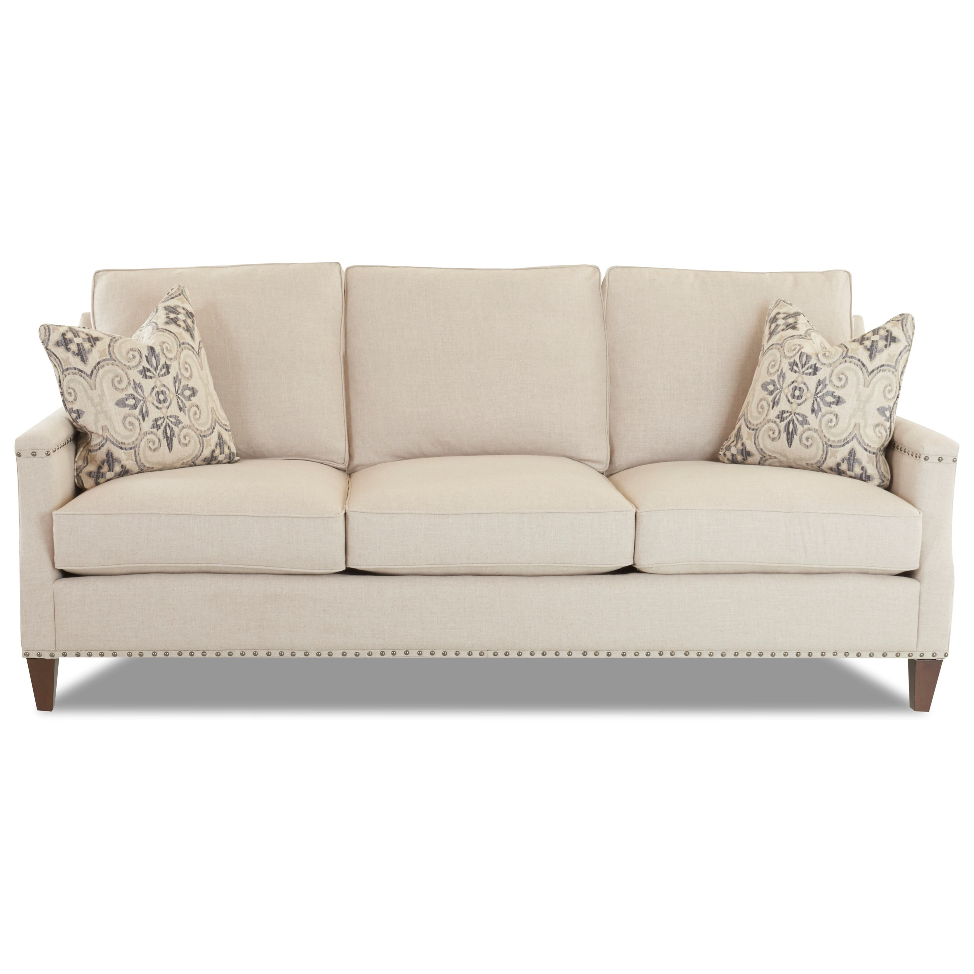 Klaussner bond d18510 s transitional sofa with nailhead for Sofa with studs
