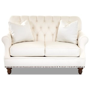 Klaussner Burbank Traditional Loveseat W Nailheads