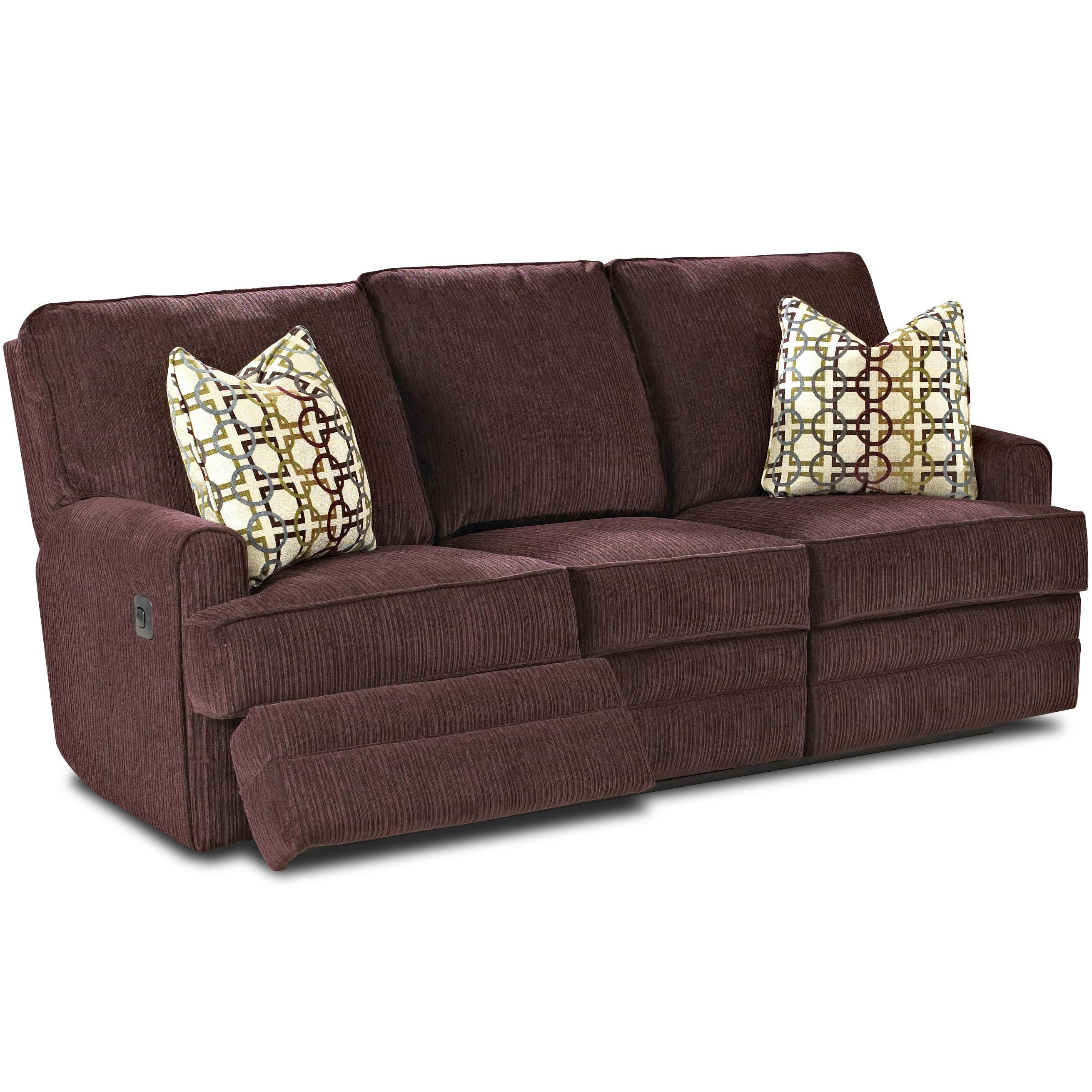 Callahan casual reclining sofa with track arms and pillows for Casual couch