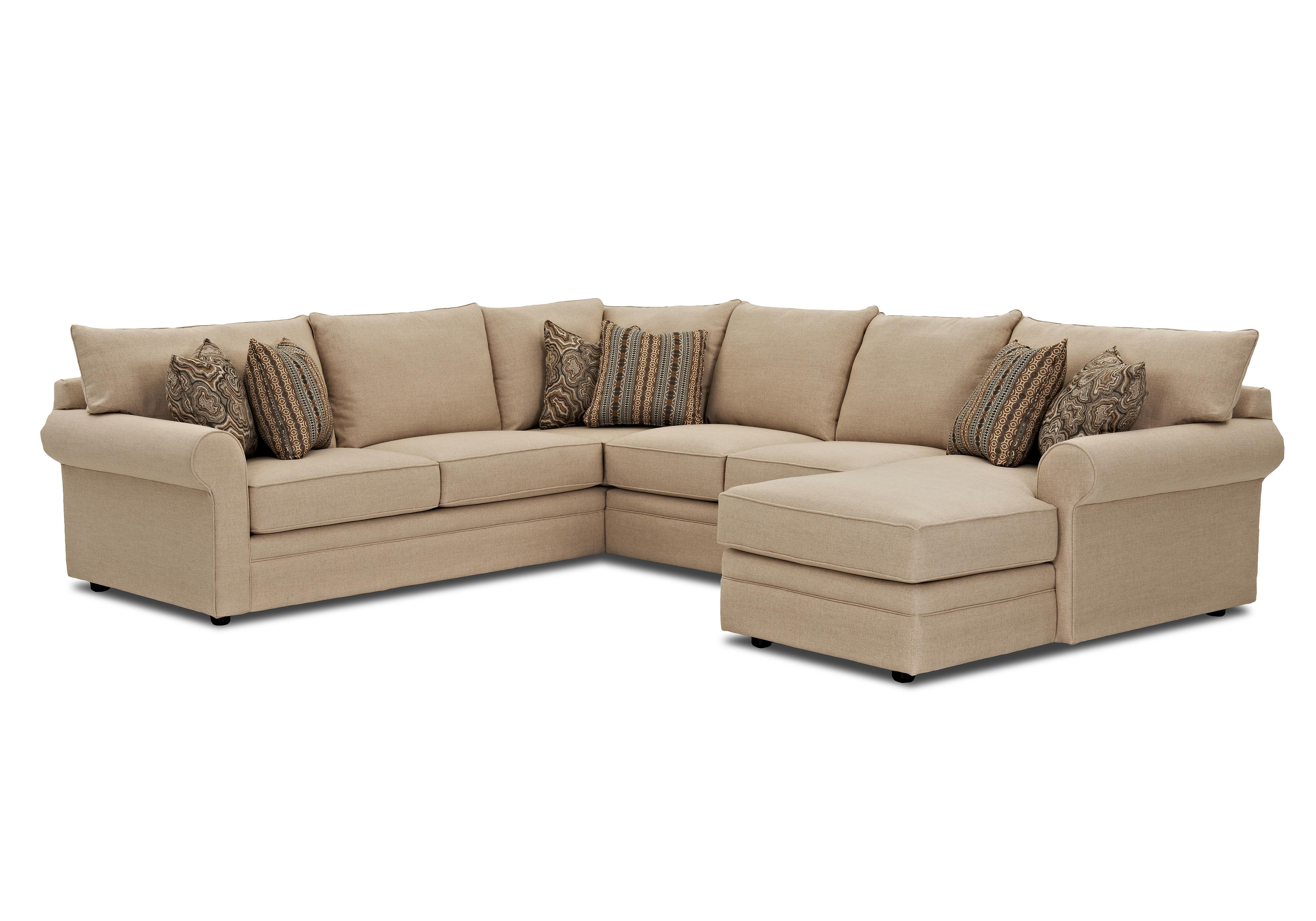 Klaussner comfy casual sectional sofa with raf chaise for Klaussner sofa
