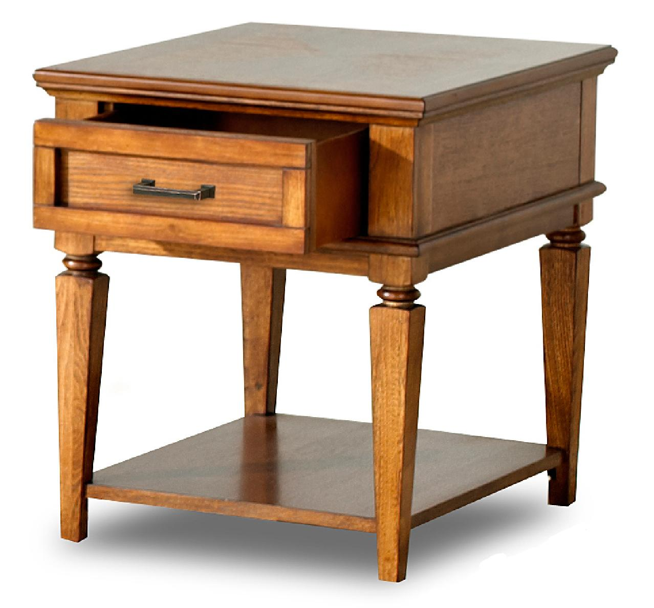 Concord transitional end table with drawer and shelf morris home end tables Morris home furniture outlet