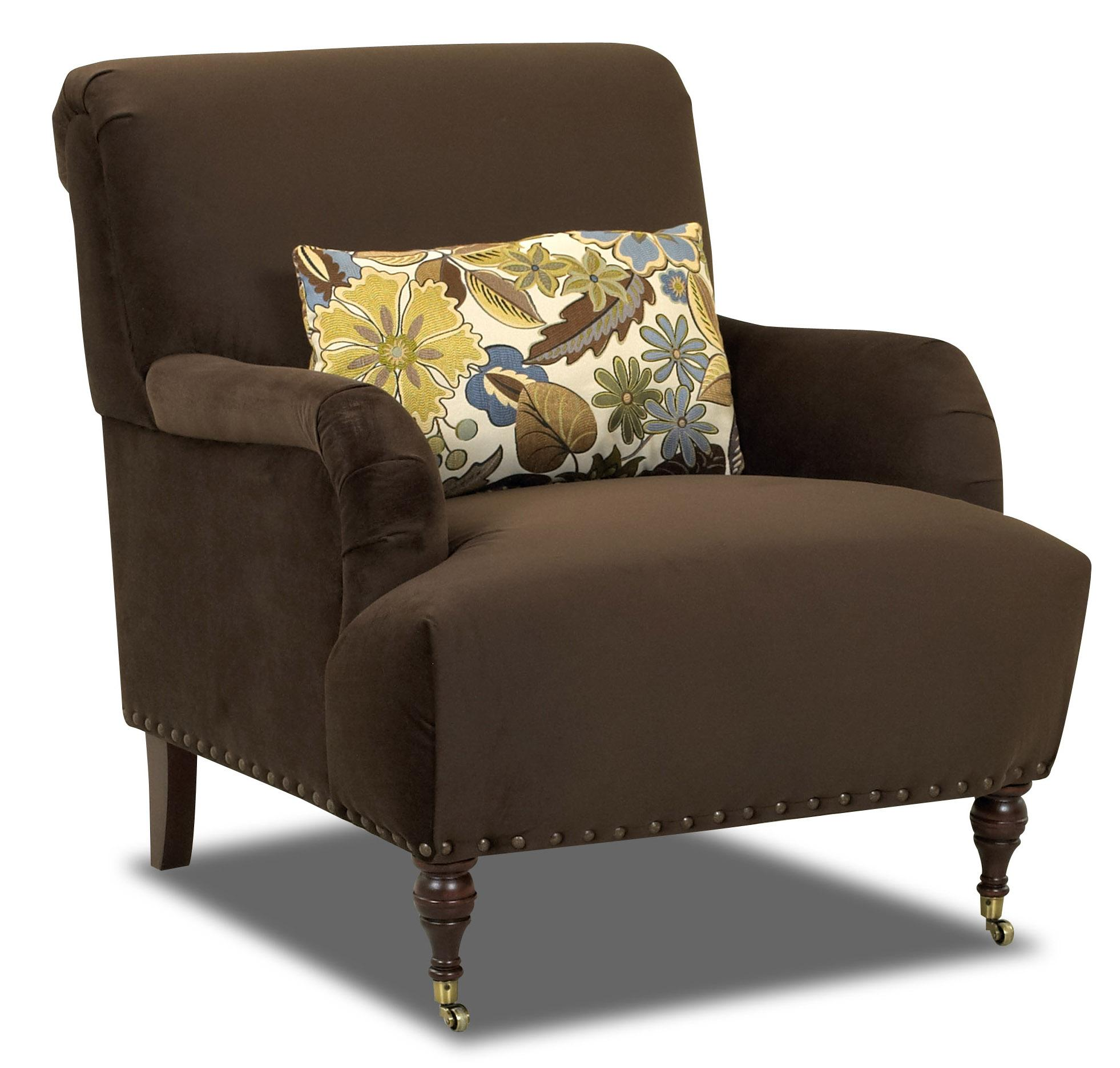 Klaussner dapper 2010 c traditional accent chair with for Traditional sofas with legs
