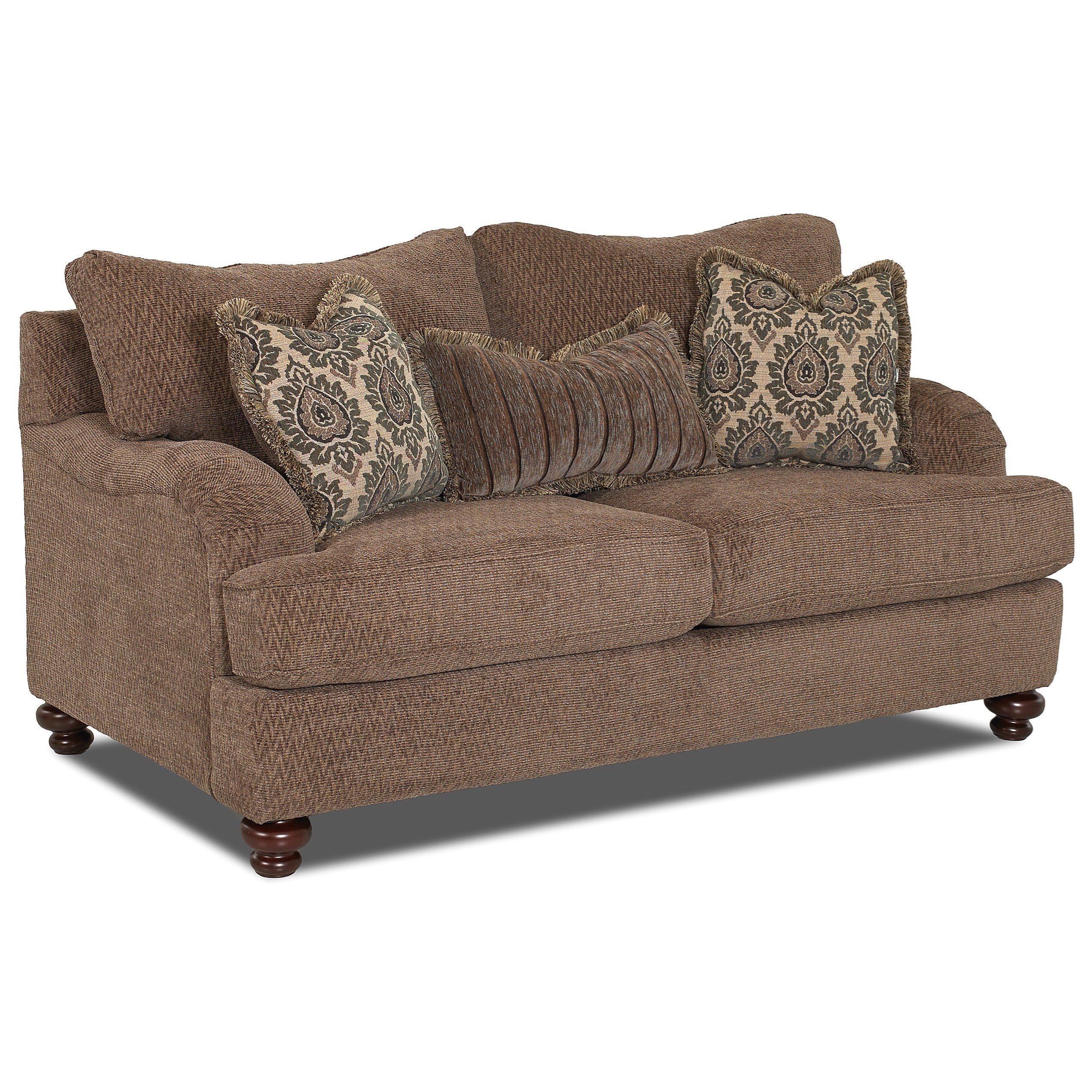 Klaussner declan traditional loveseat with english arms for Living room zumba