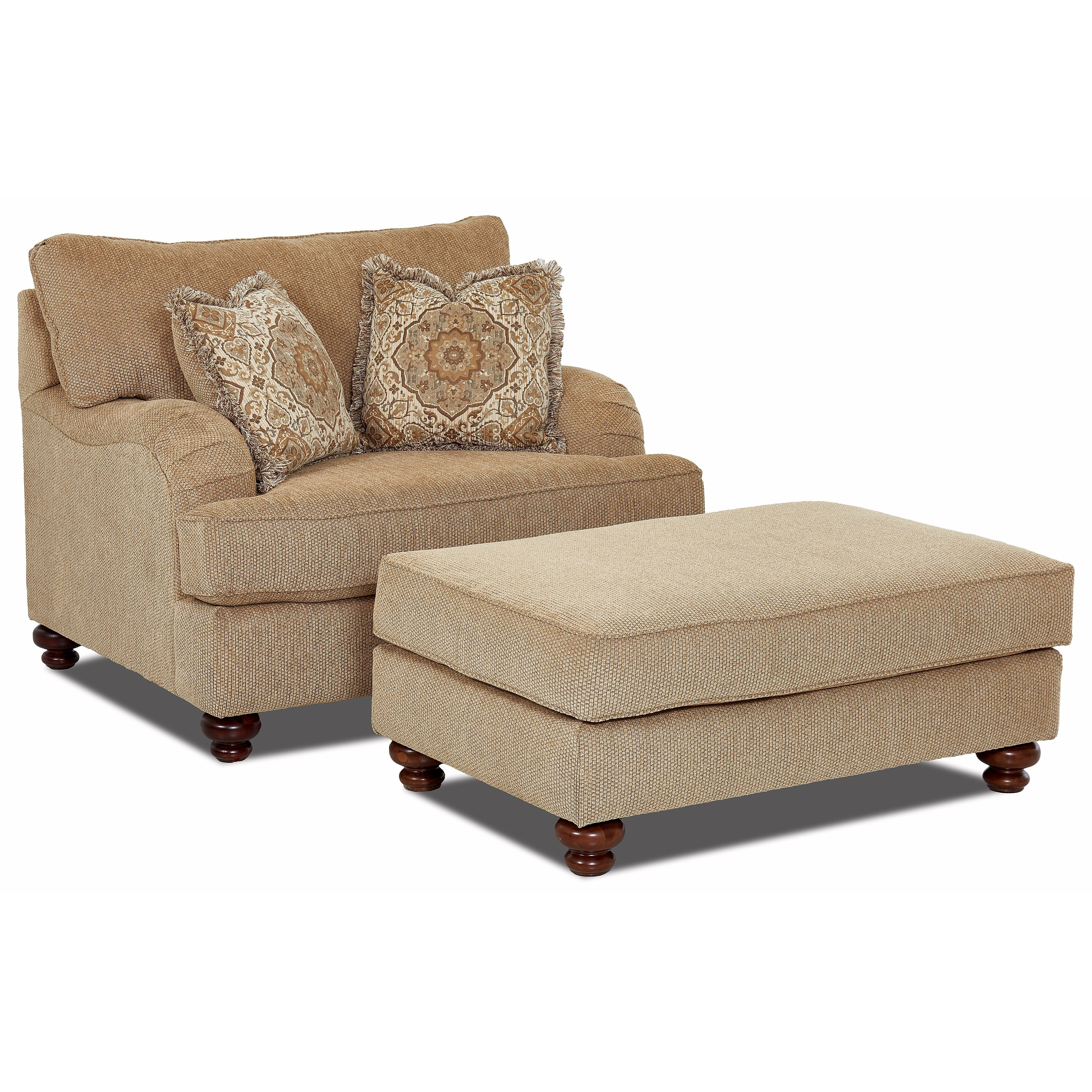 Klaussner declan oversized chair and ottoman set royal for Settee and chair set