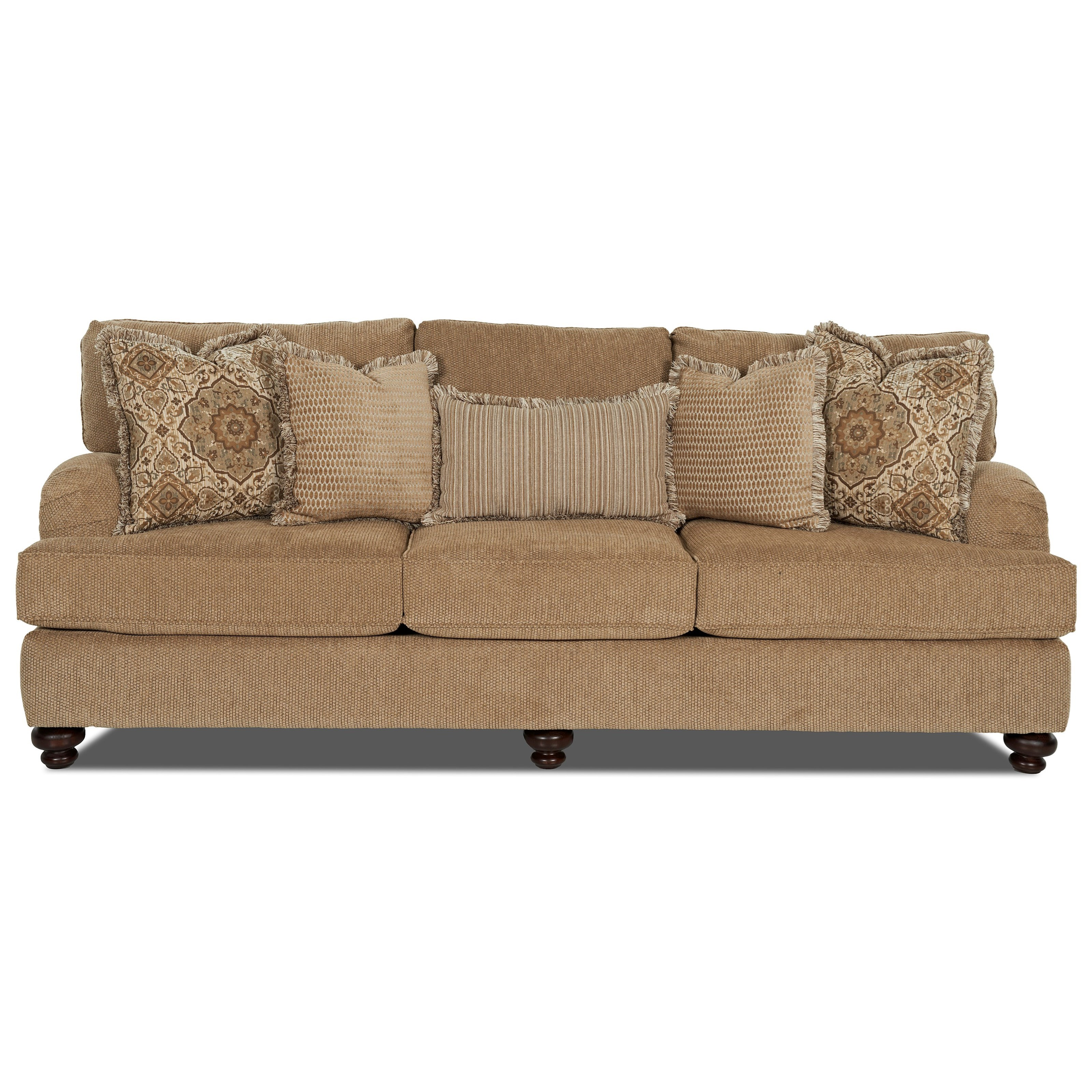 Klaussner declan traditional sofa with turned feet royal for Traditional couches