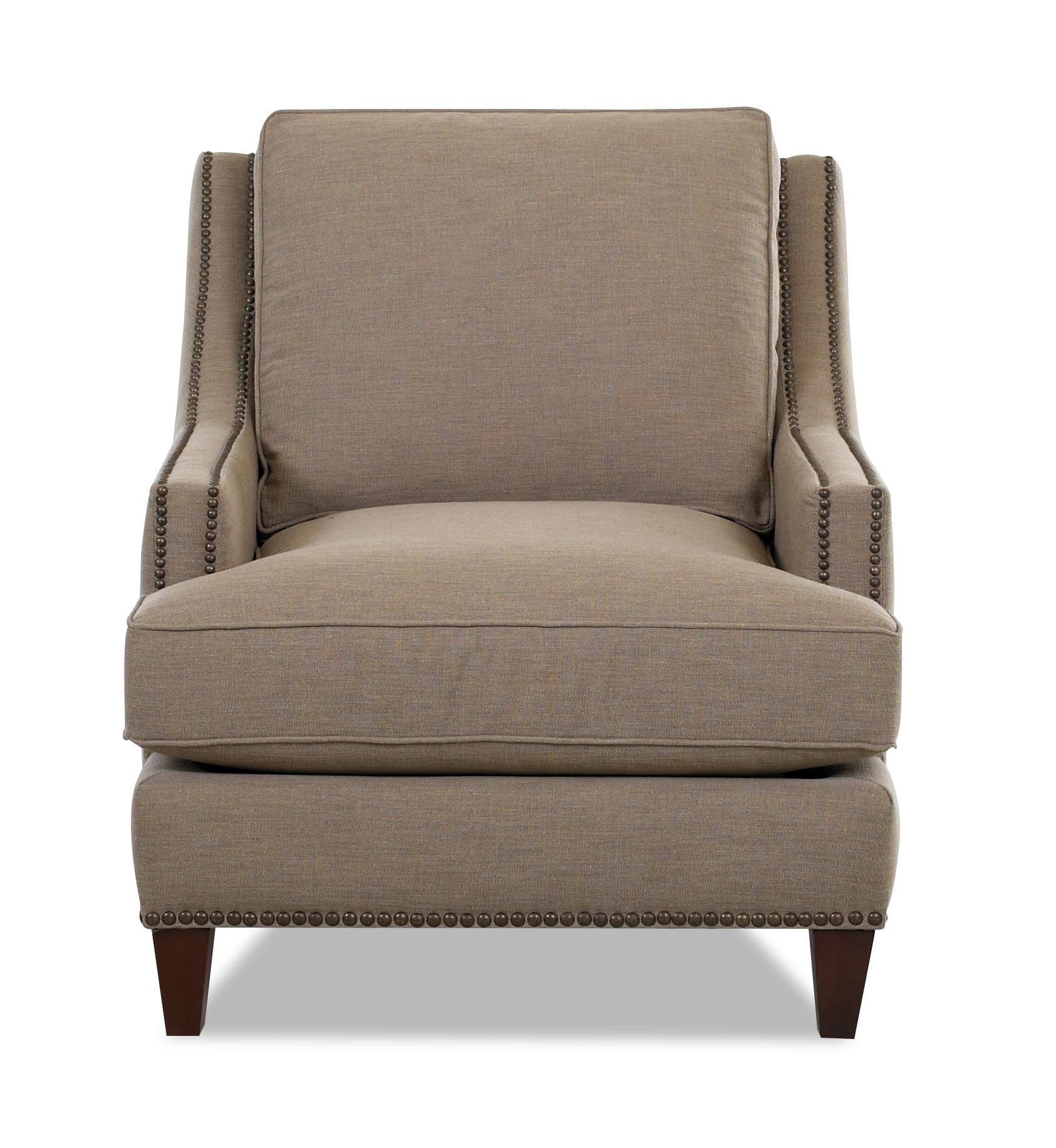 Klaussner duchess transitional nailhead wing back chair for Furniture 0 down