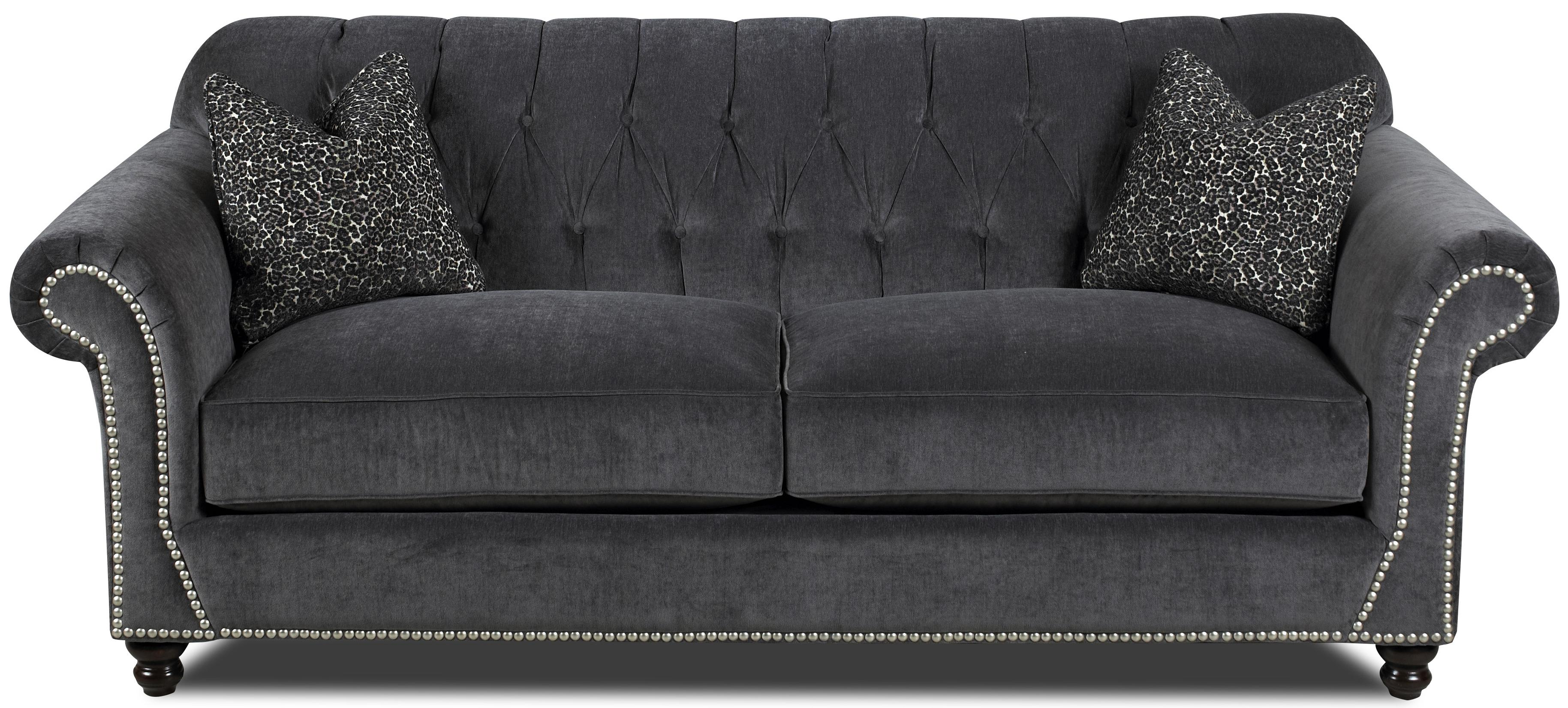 Klaussner Flynn Traditional Sofa with Button Tufted Back, Rolled Arms and Throw Pillows - Steger ...