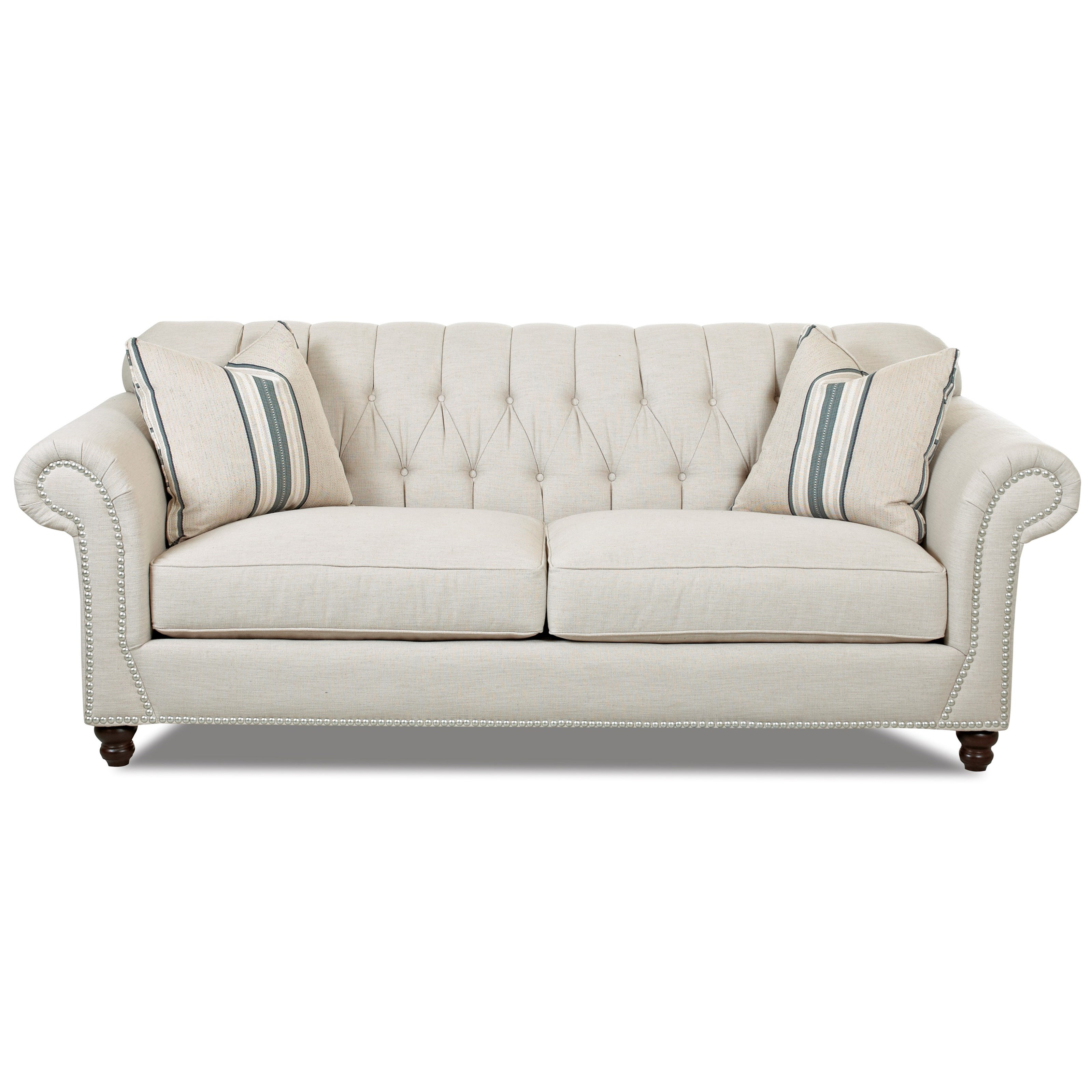 Klaussner flynn d90910p s traditional sofa with button for Traditional sofas and loveseats