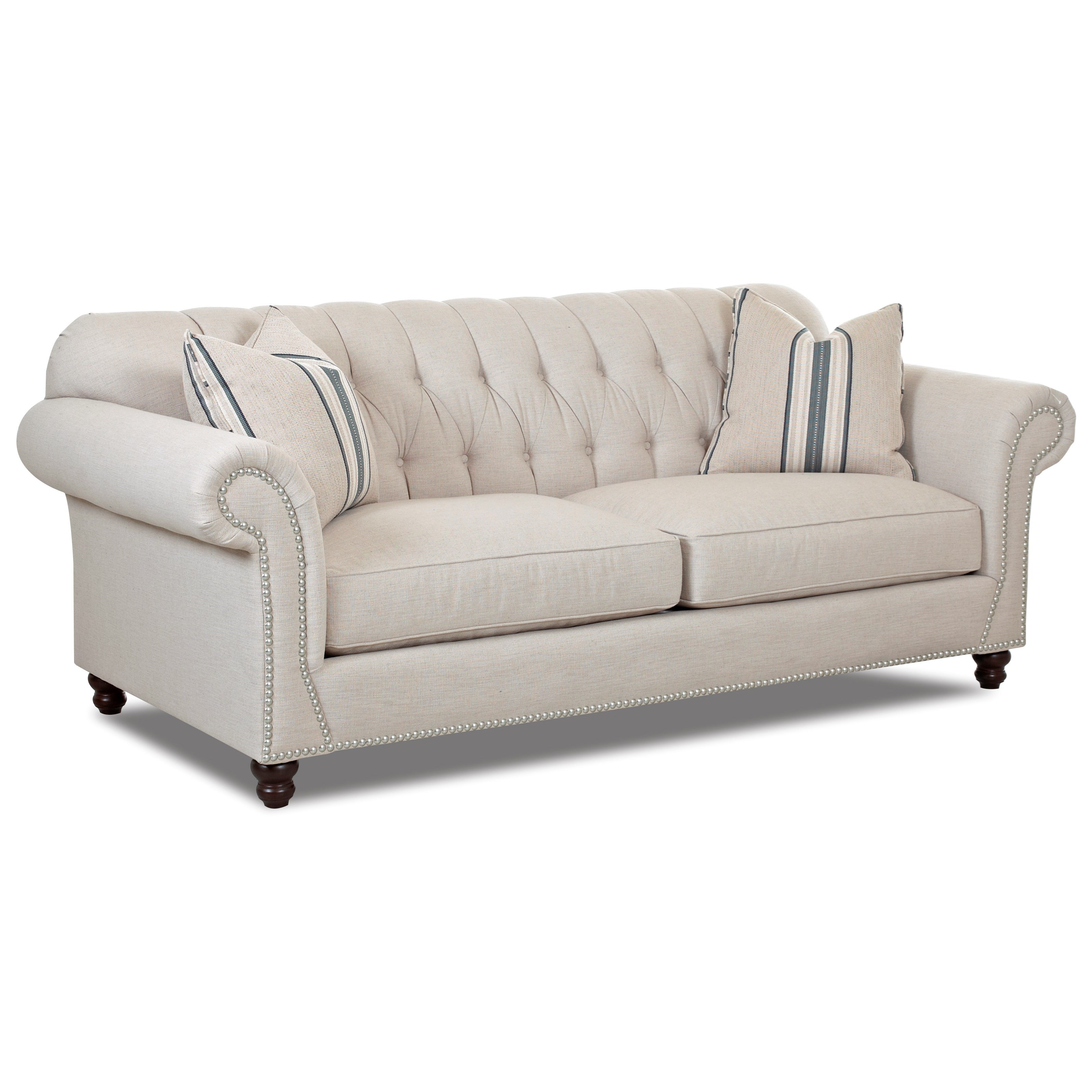 Klaussner Flynn Traditional Sofa with Button Tufted Back, Rolled Arms and Throw Pillows Johnny ...