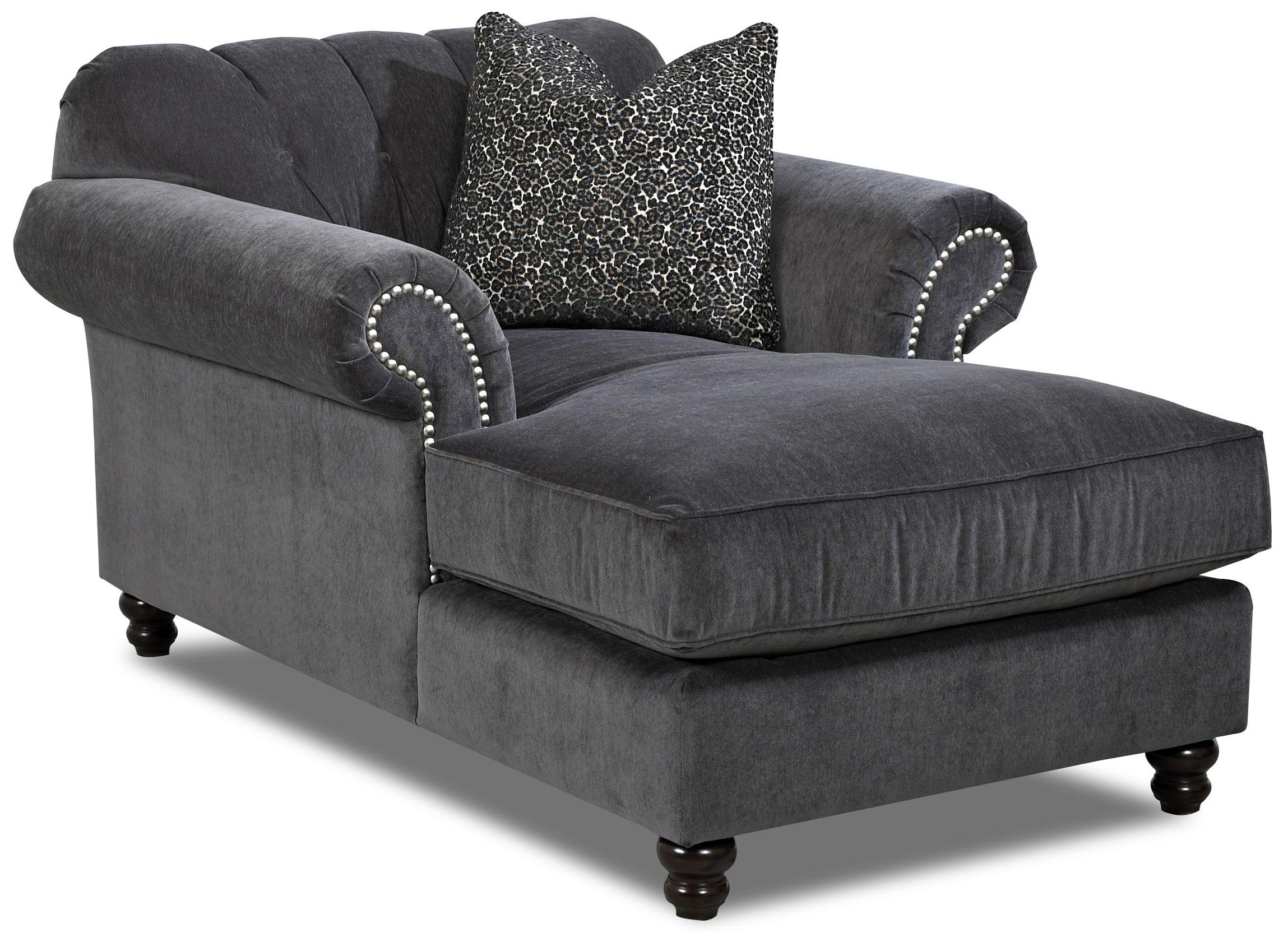 klaussner flynn traditional chaise with button tufted back rolled arms and throw pillow dunk. Black Bedroom Furniture Sets. Home Design Ideas