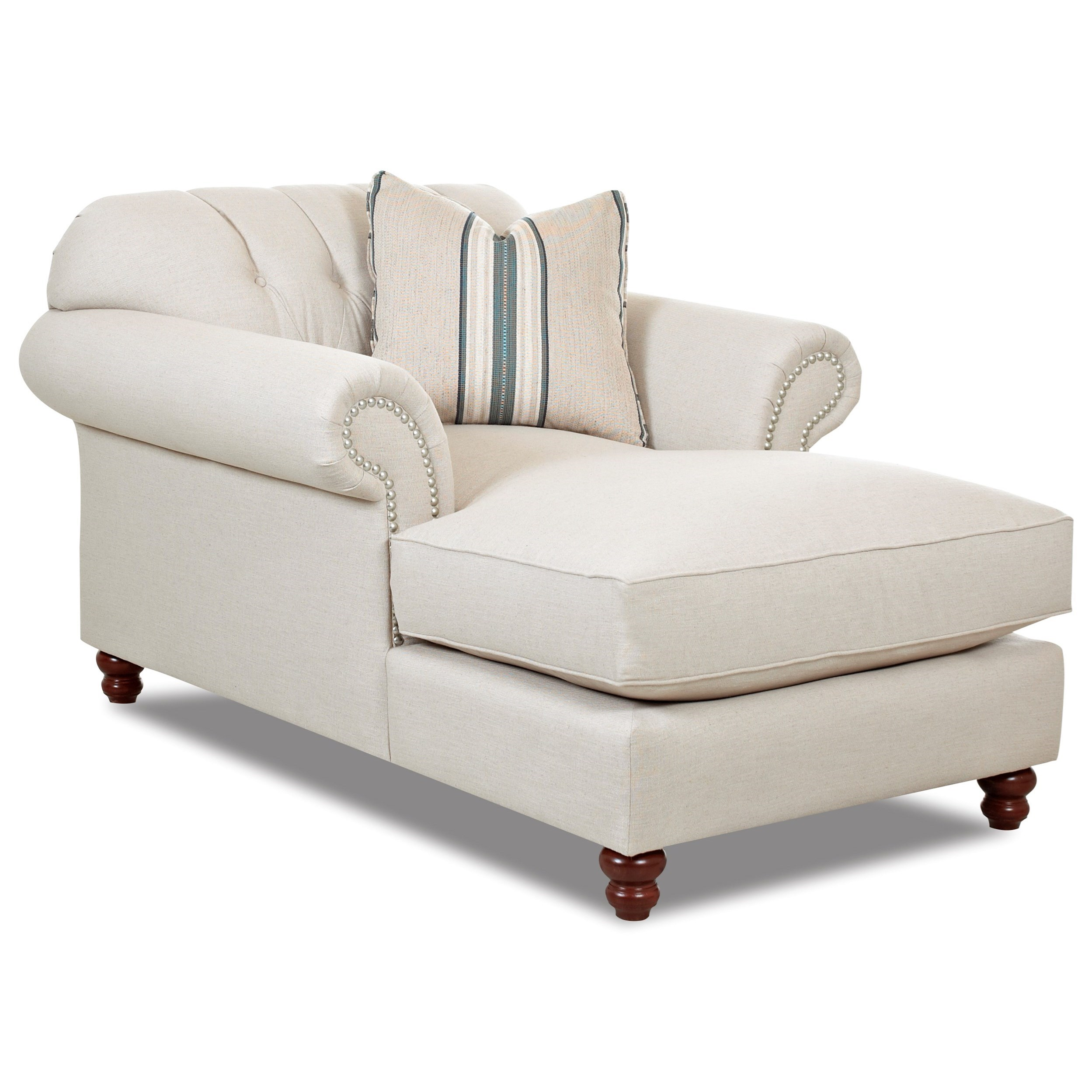 Klaussner Flynn Traditional Chaise with Button Tufted Back, Rolled Arms and Throw Pillow H.L ...