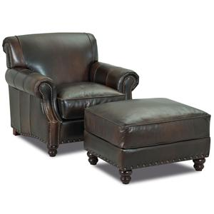 Klaussner Fremont Traditional Leather Stationary Sofa with