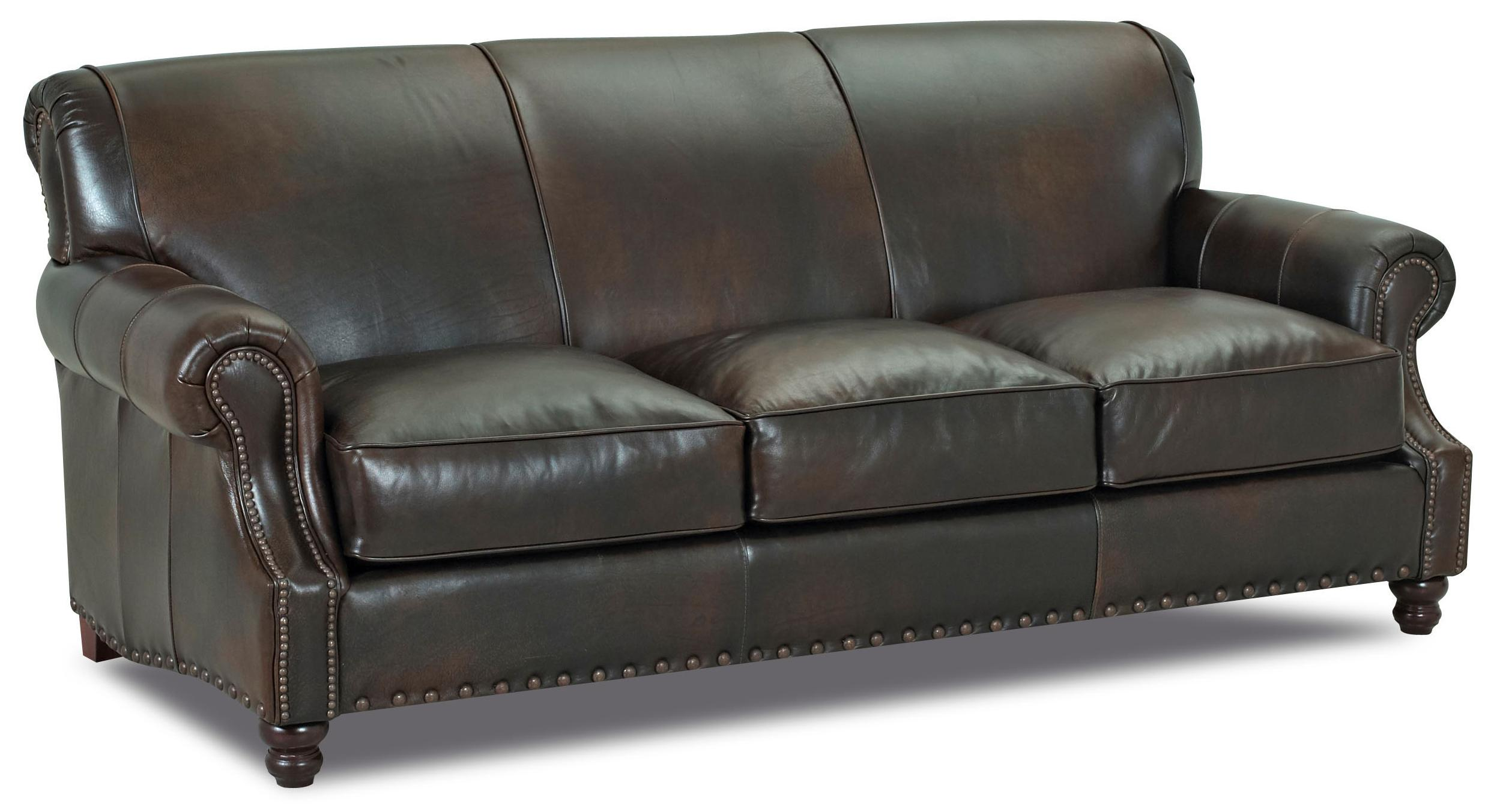 Fremont traditional leather stationary sofa by klaussner for Traditional couches