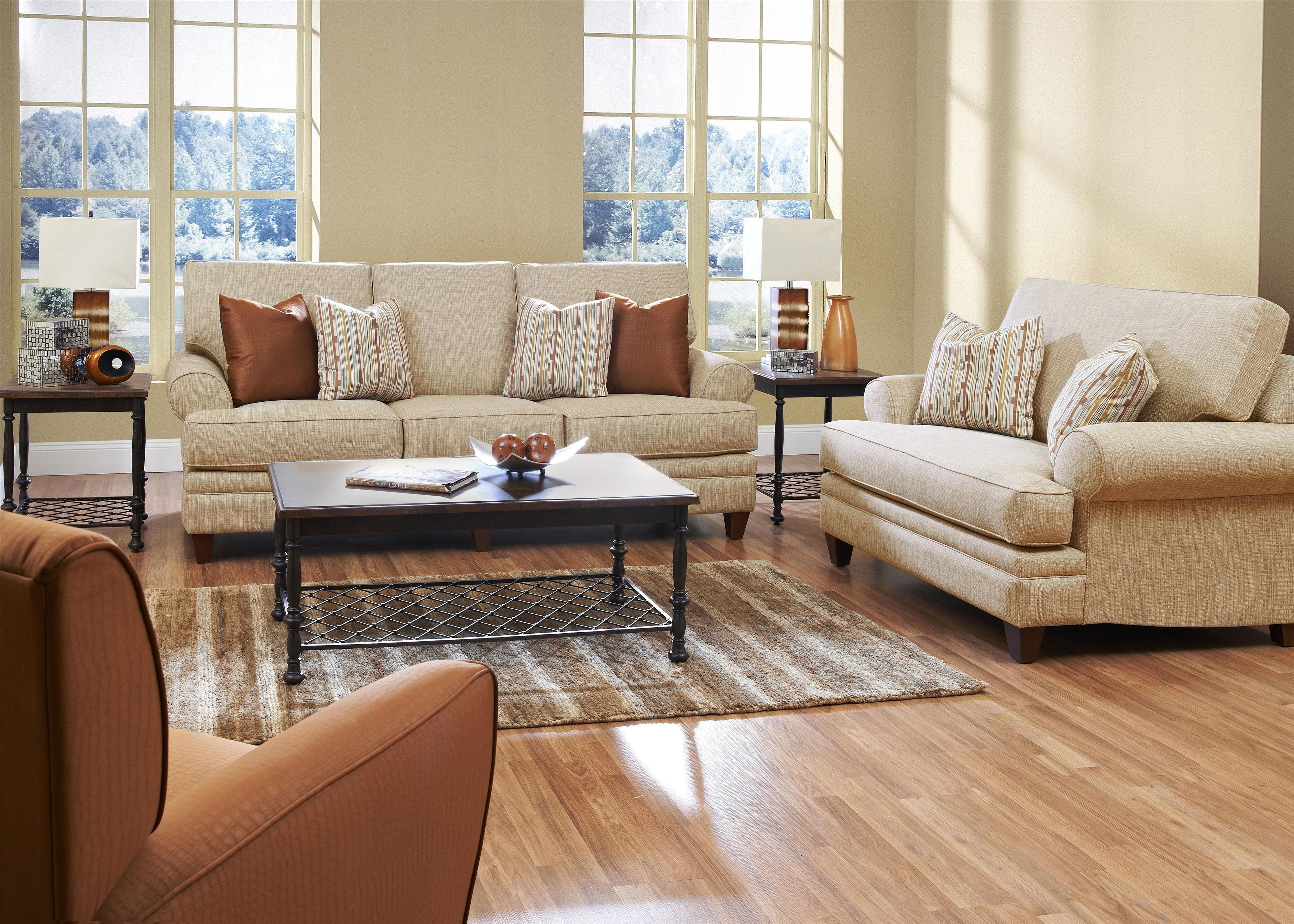 Klaussner Fresno Transitional Sofa with Low Profile Rolled