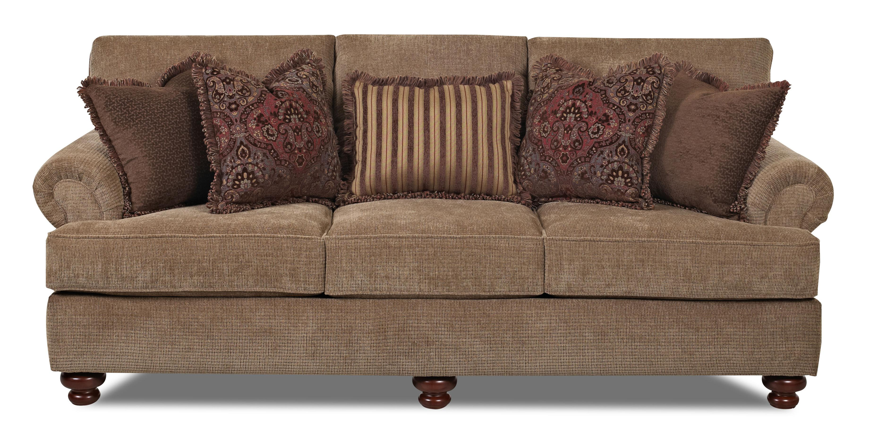 Klaussner greenvale traditional stationary sofa with for Klaussner sofa