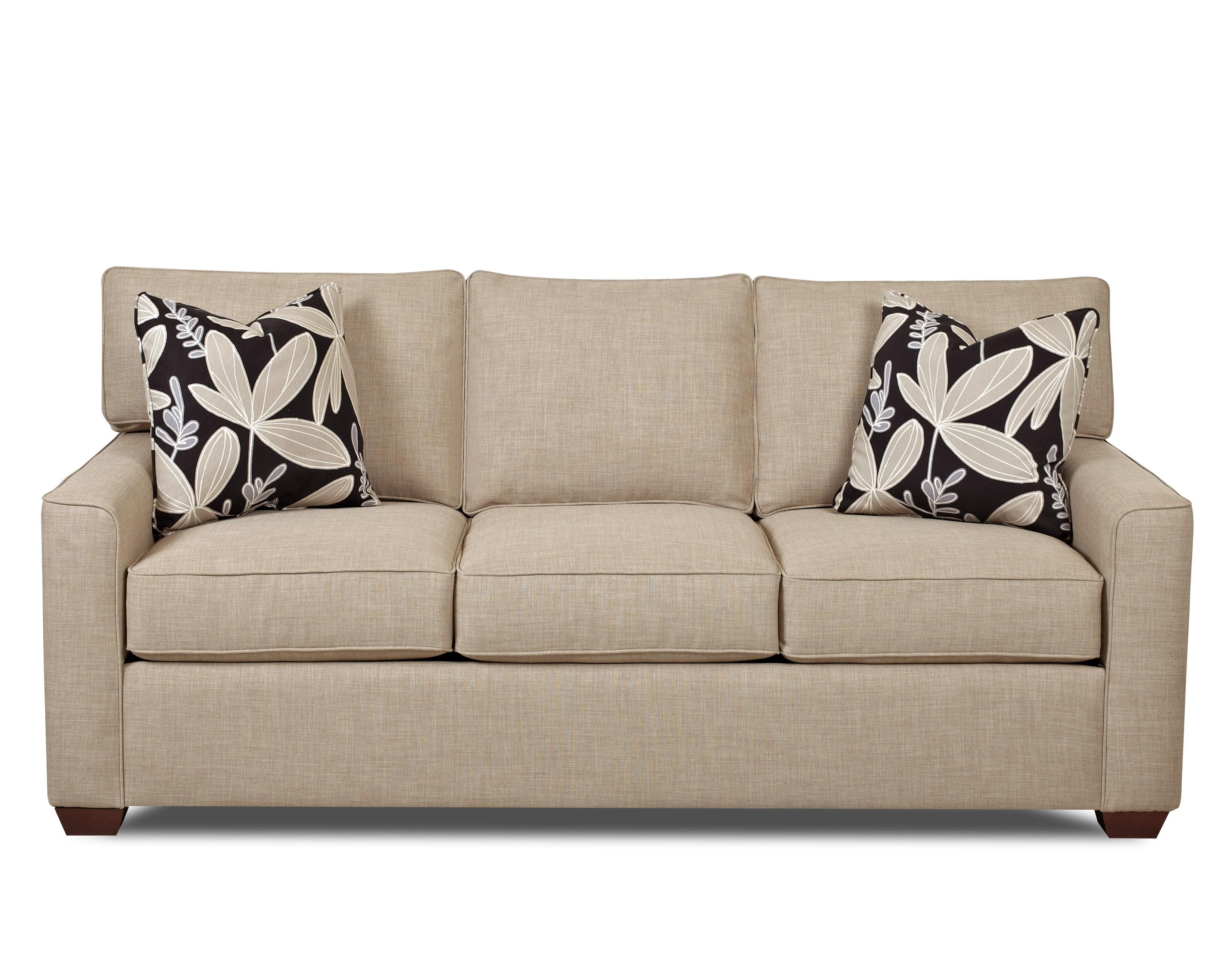 Klaussner hybrid casual stationary sofa with back t for Wayside furniture