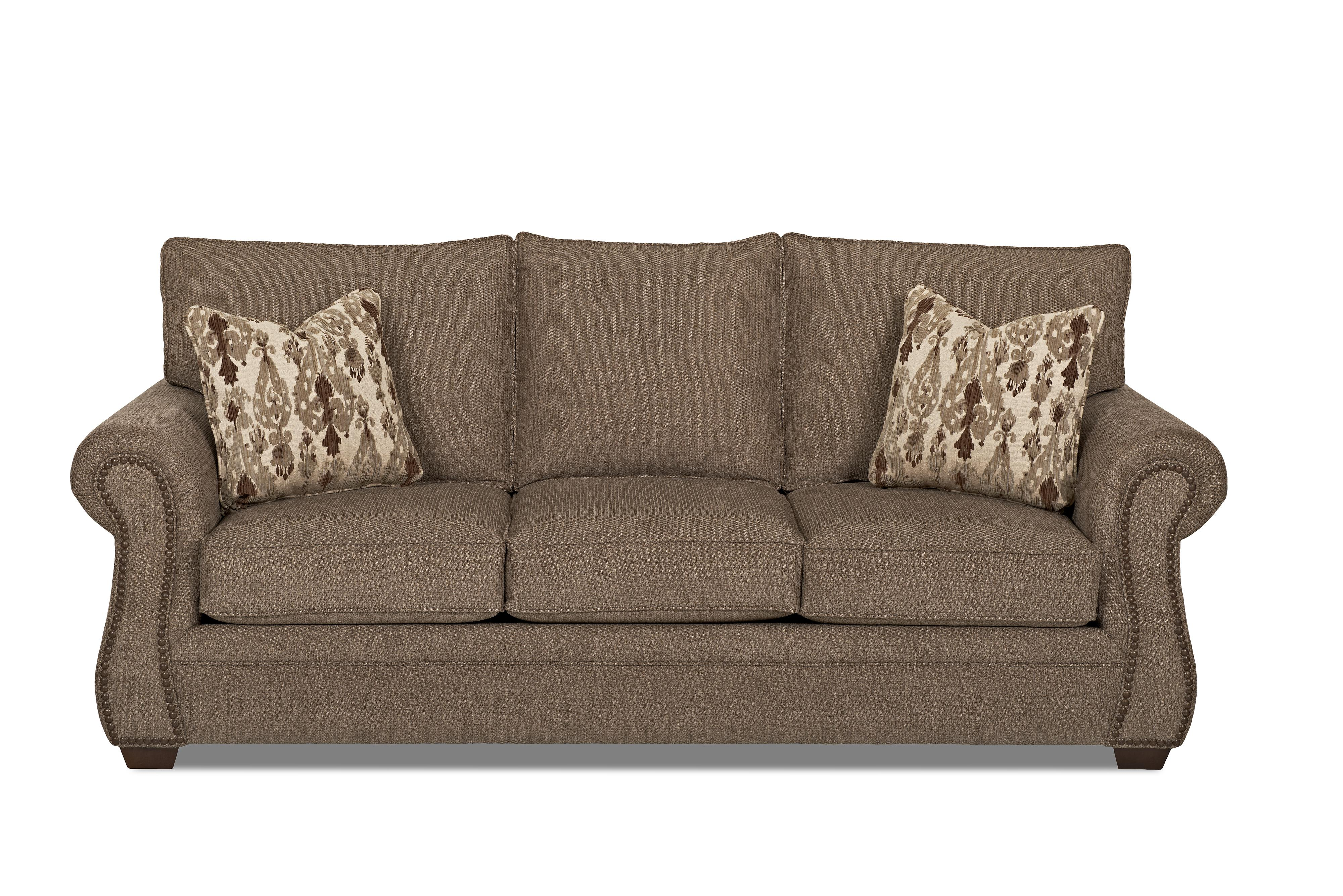 Klaussner jasper traditional sofa with nailhead trim for Traditional sectional