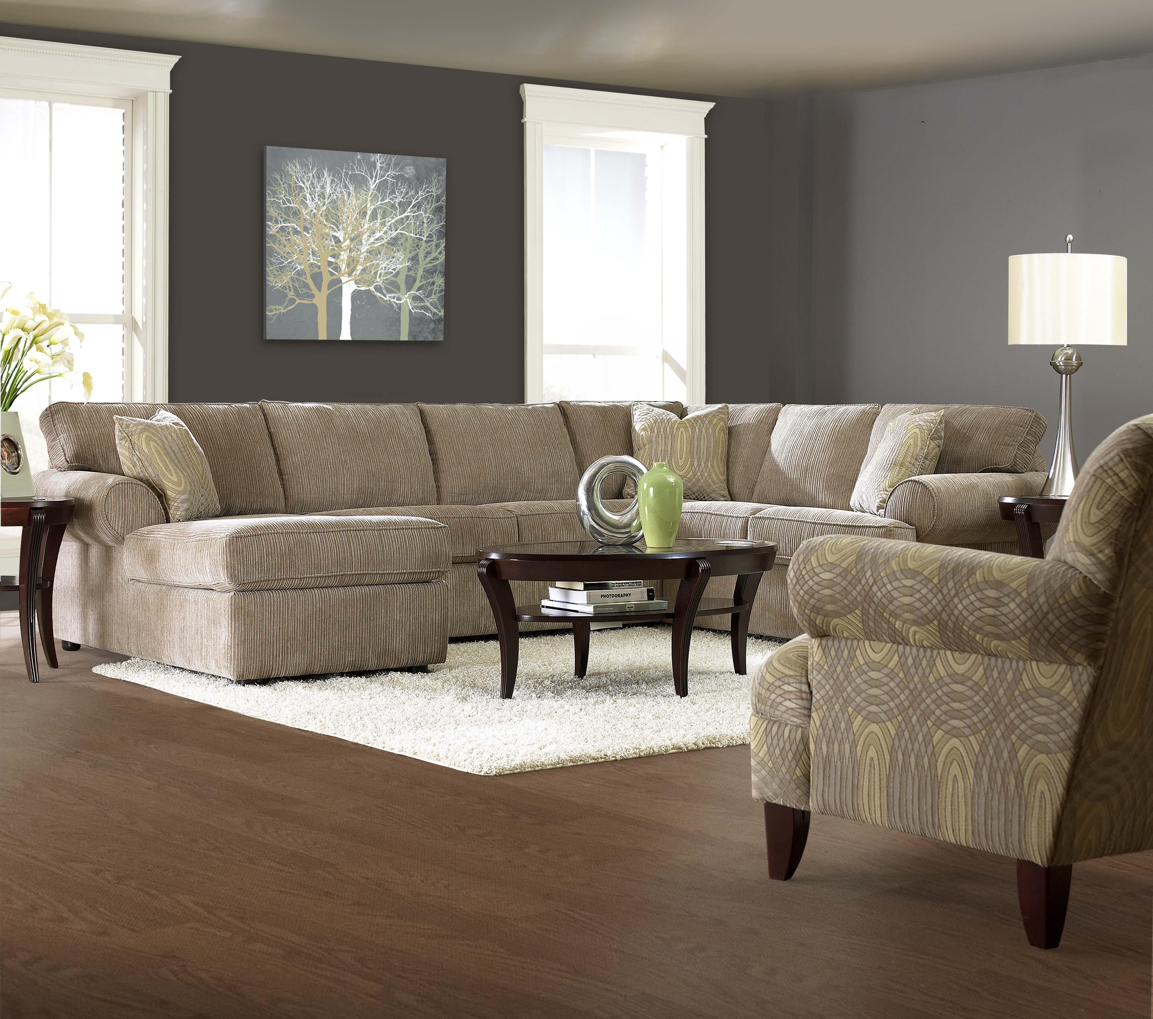 Elliston place julington transitional sectional sofa with for Chaise 2 places