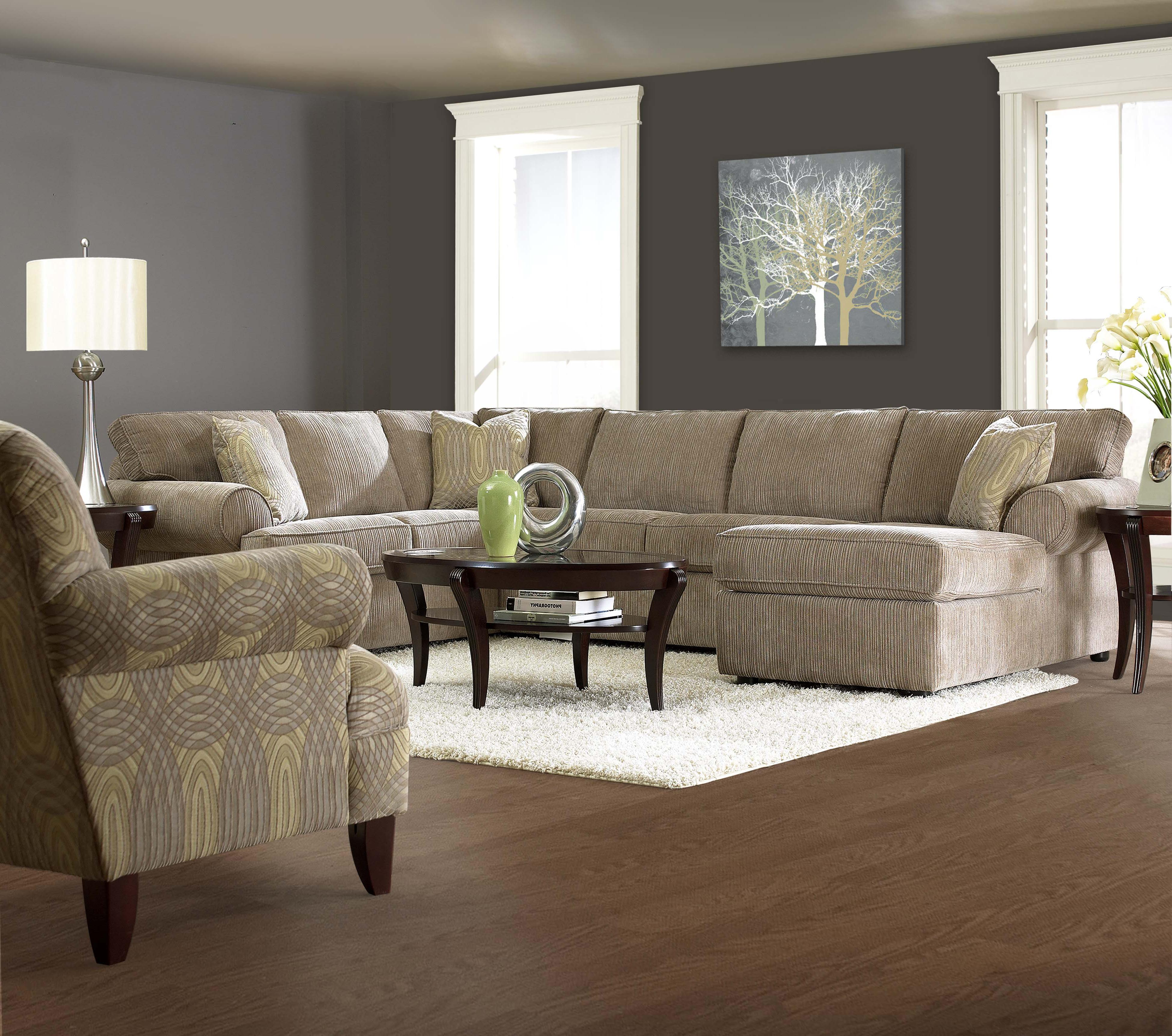 Elliston place julington transitional sectional sofa with for Chaise 3 places