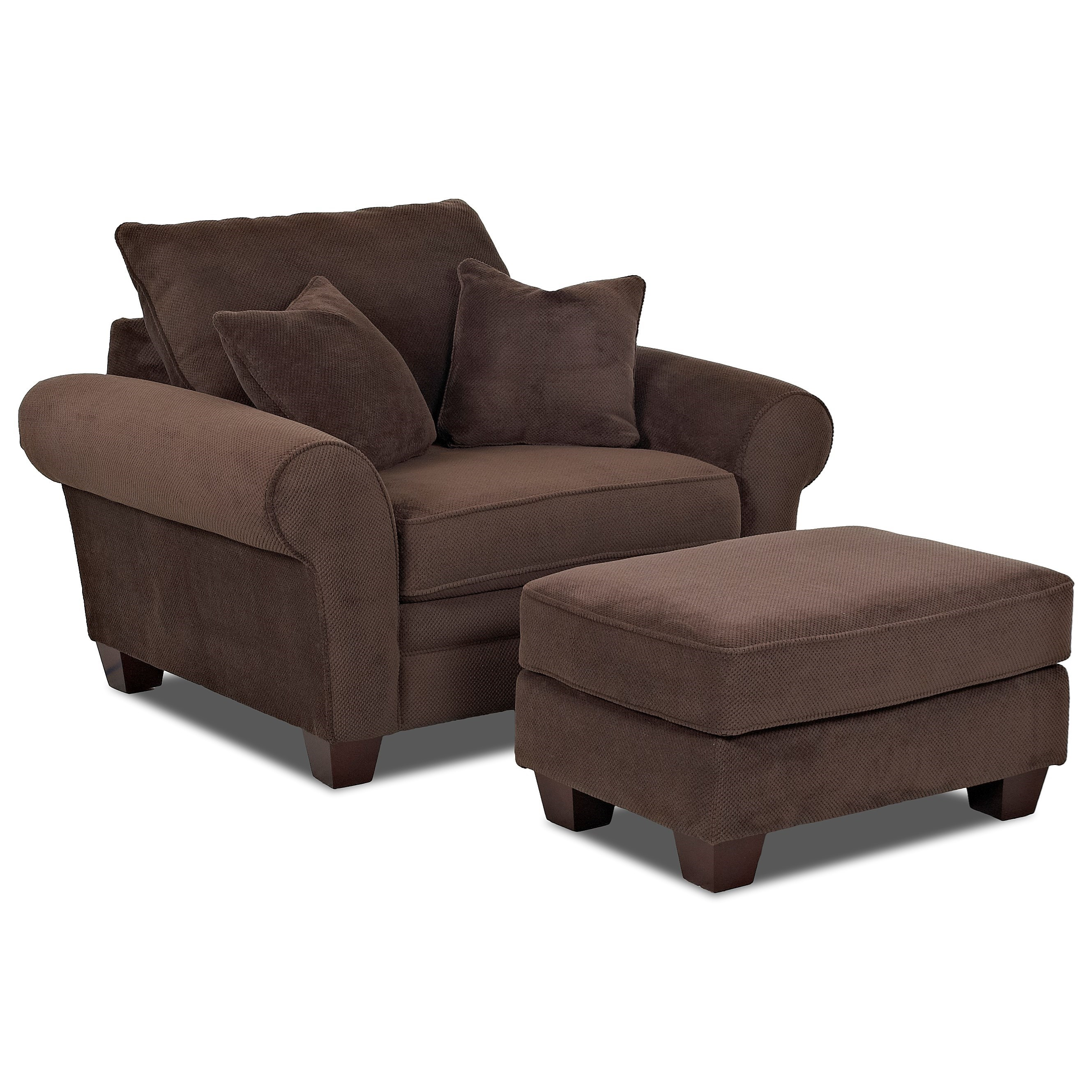 Klaussner kazler oversized chair and ottoman set olinde for Chair ottoman