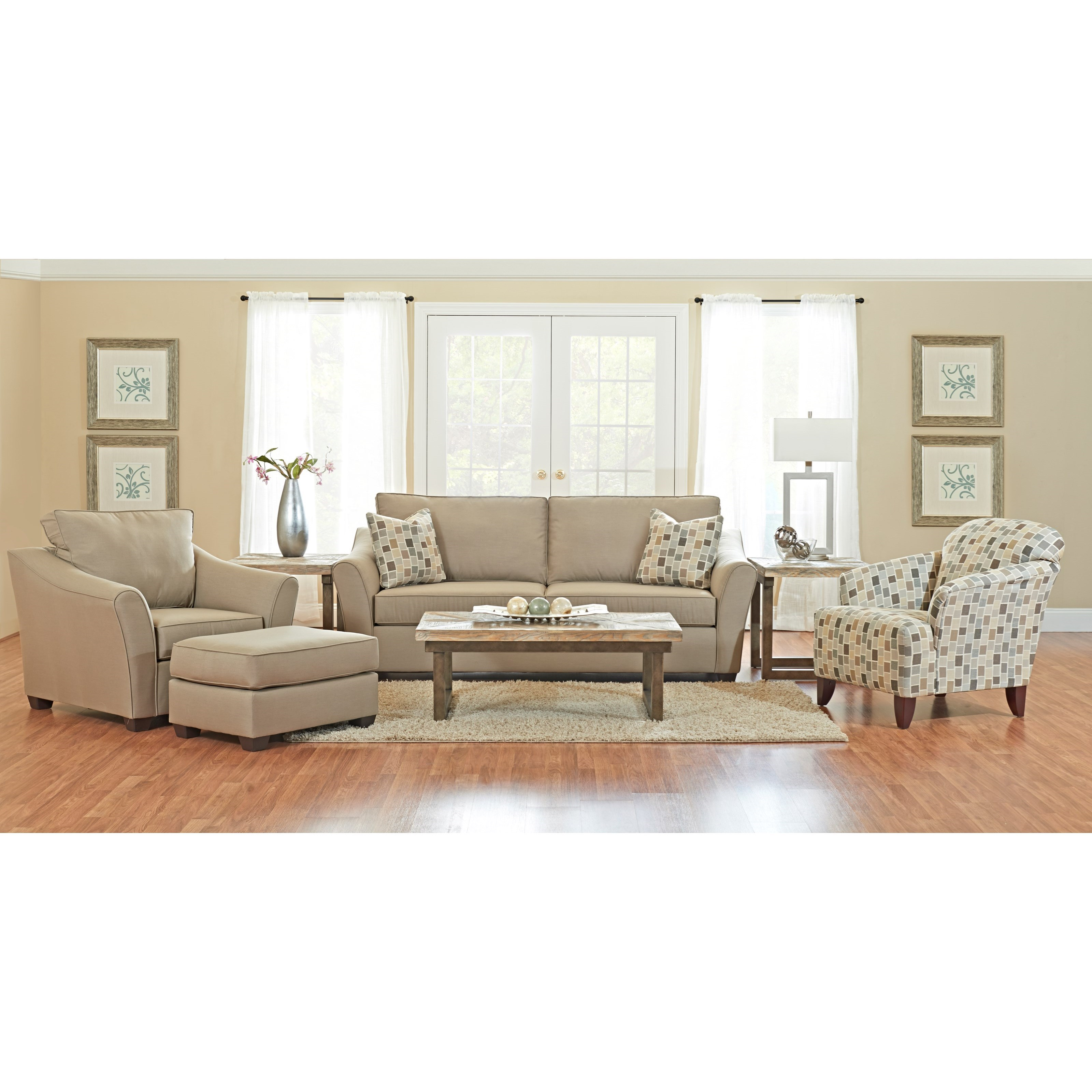 Klaussner linville living room group value city for Living room furniture groups