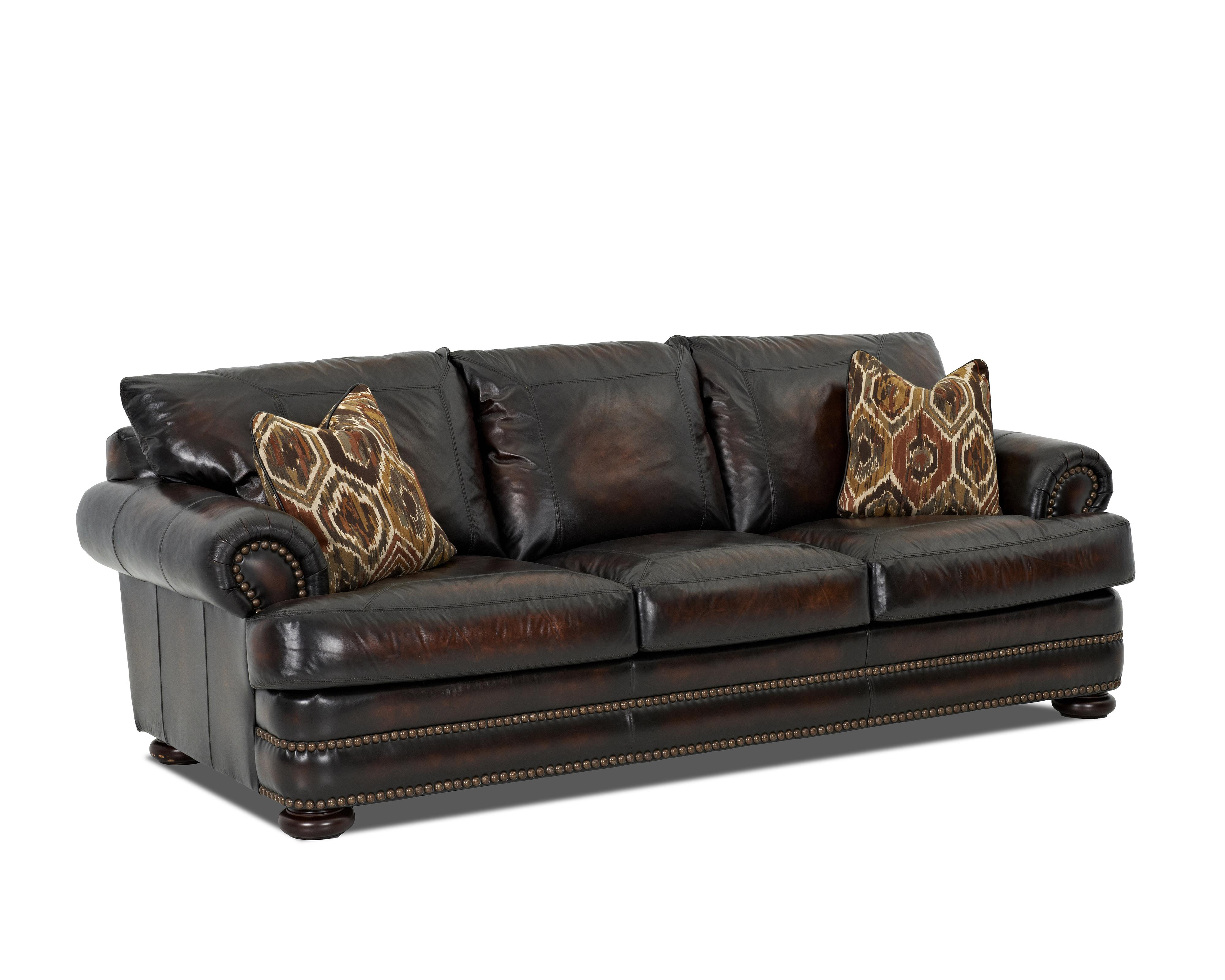 klaussner montezuma ld43800 s leather sofa with rolled With klaussner leather sectional sofa