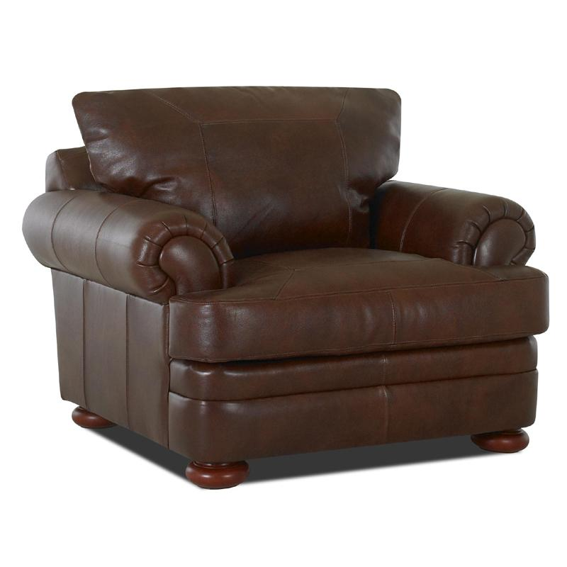 Klaussner Montezuma Leather Chair with Rolled Arms Dunk