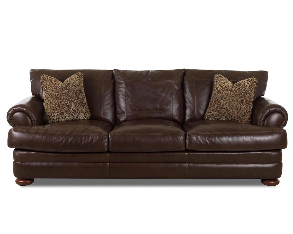 Klaussner Montezuma Leather Sofa with Rolled Arms Dunk