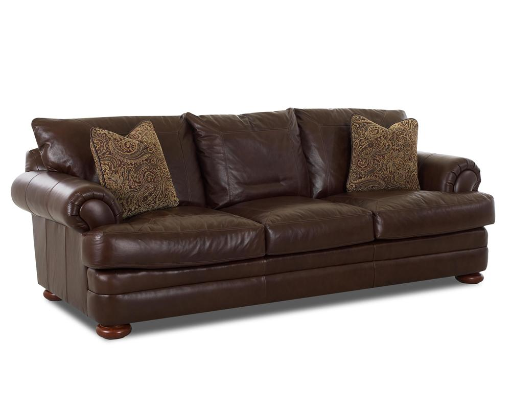 Klaussner montezuma leather sofa with rolled arms sheely for Klaussner sofa