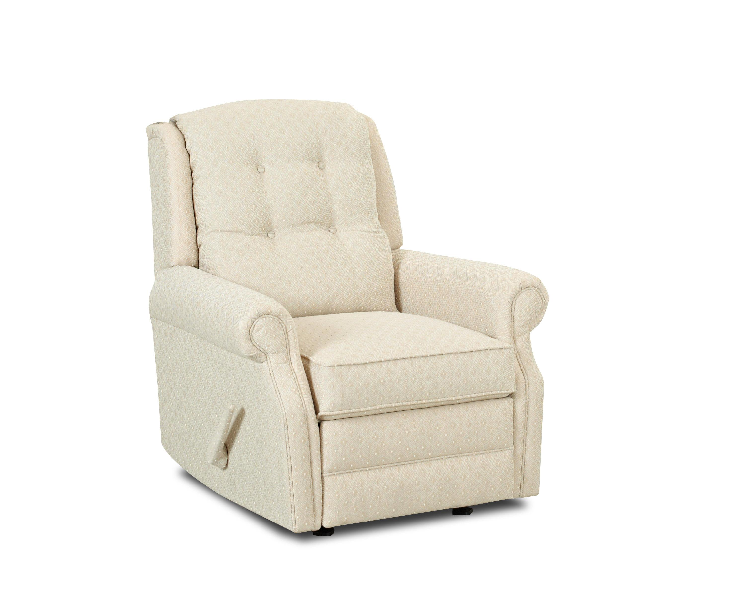 ... Transitional Manual Swivel Rocking Reclining Chair with Button Tufting