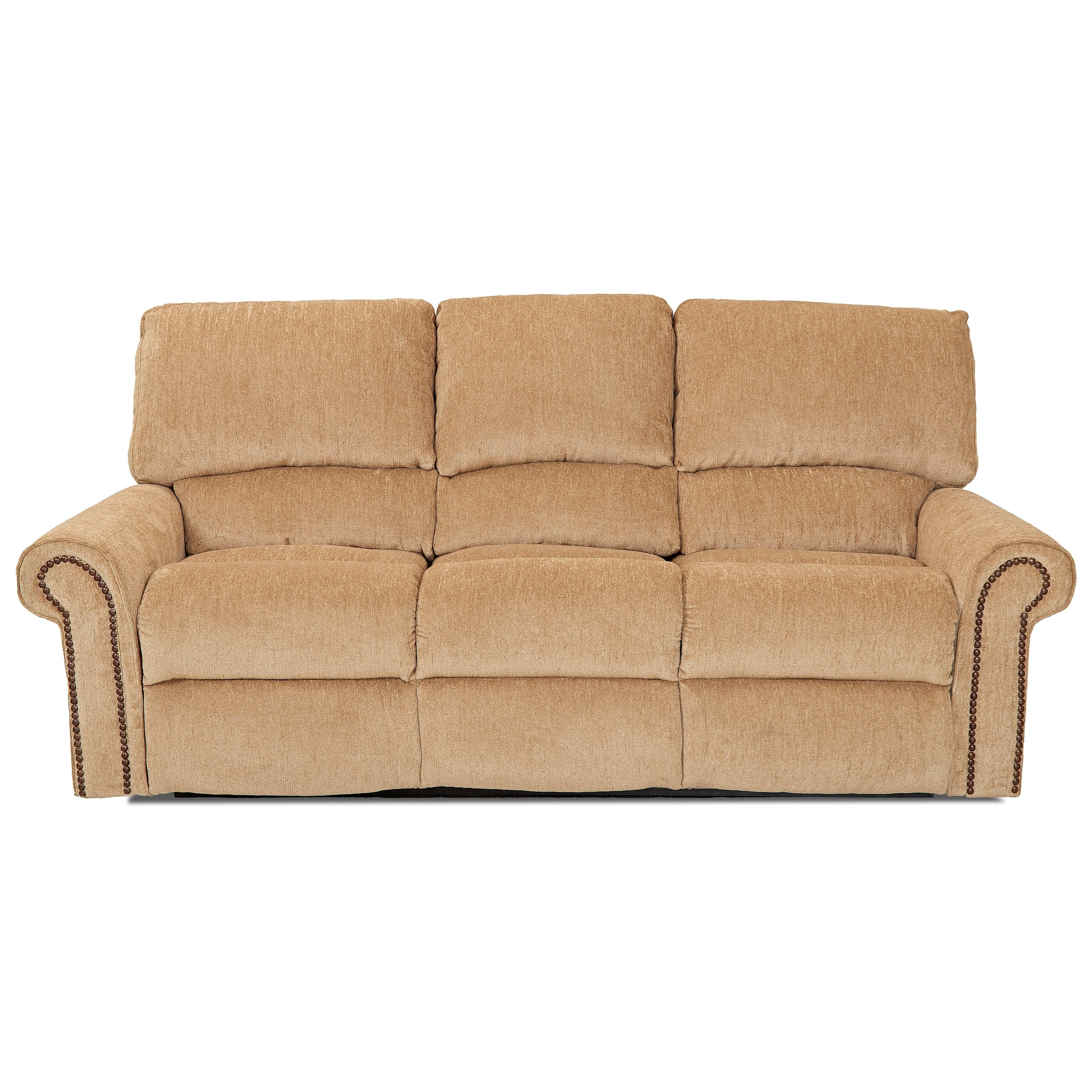 Klaussner Savannah Reclining Sofa With Rolled Arms And Nailheads Olinde 39 S Furniture