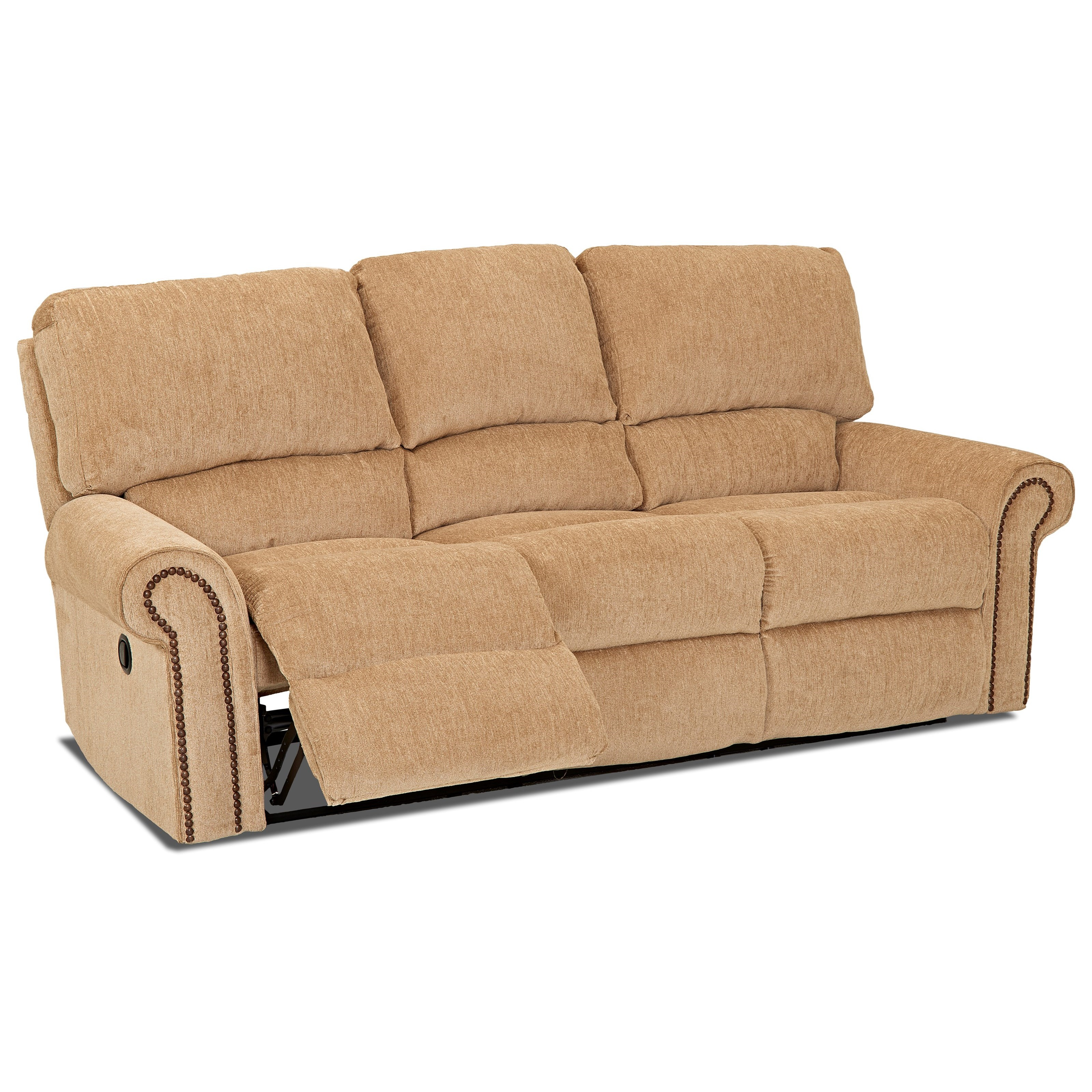Klaussner Savannah Reclining Sofa With Rolled Arms And Nailheads Johnny Janosik Reclining Sofas