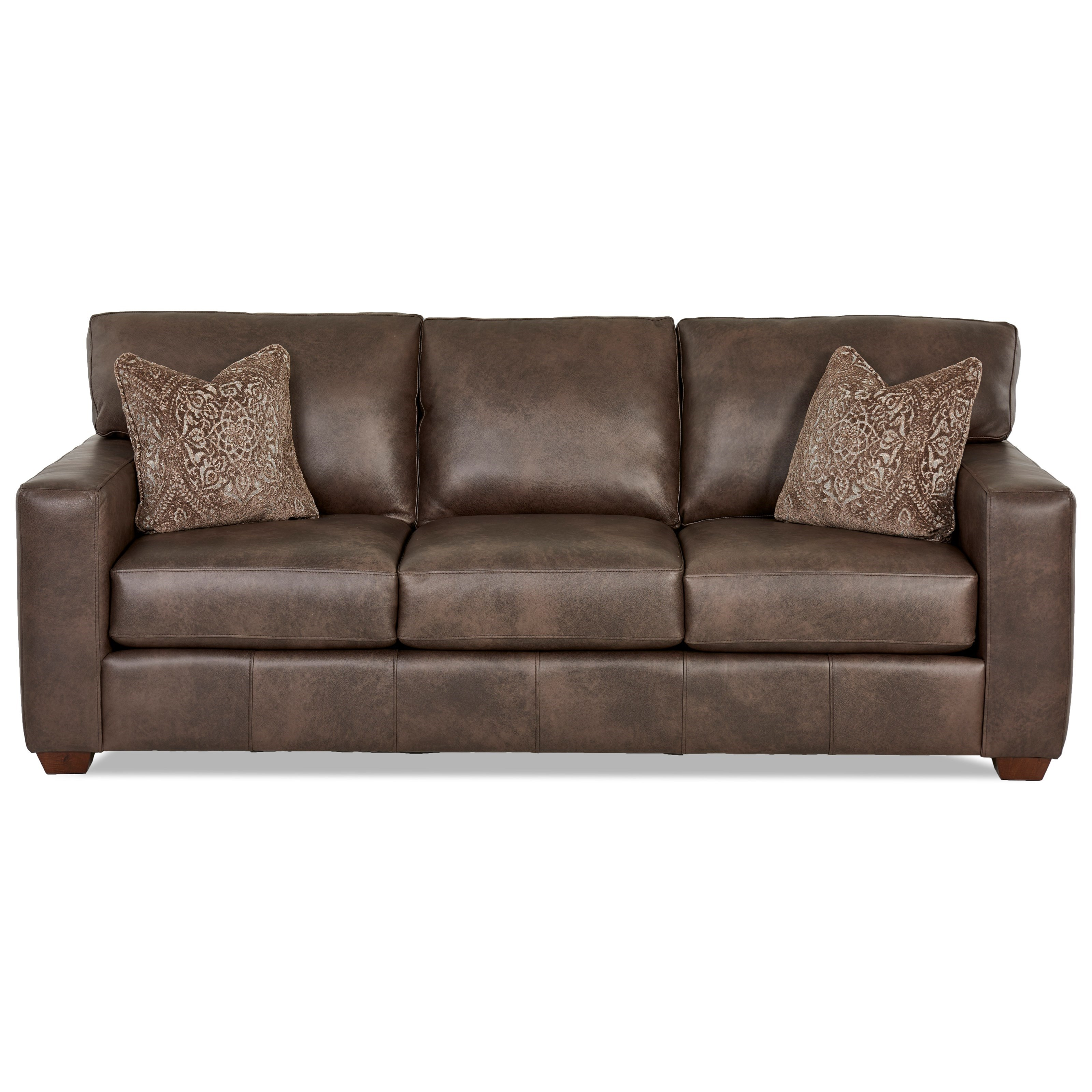 Klaussner southport contemporary leather sofa with pillows for Best pillows for leather couch