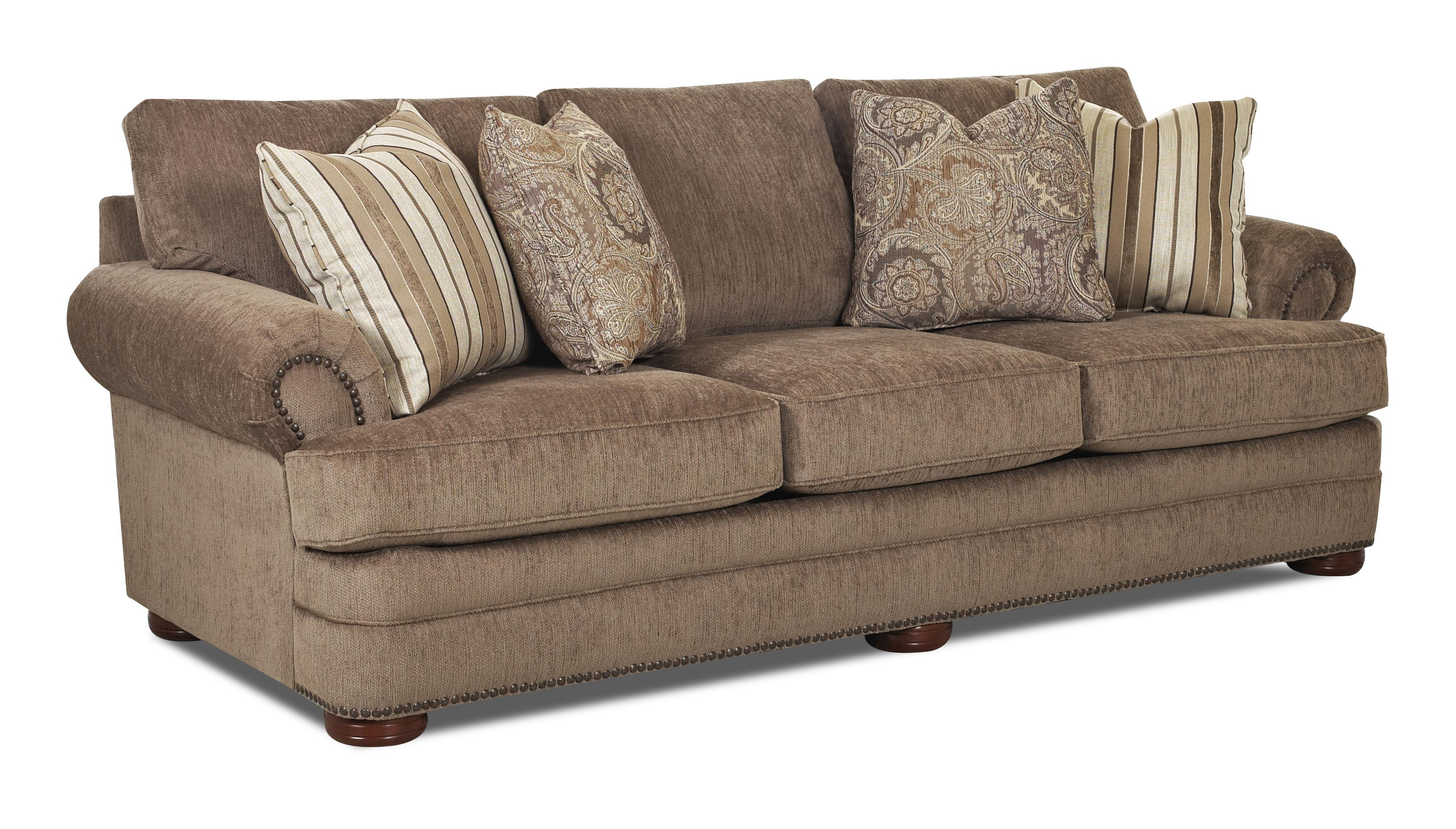 Klaussner tolbert k90810 s traditional sofa with rolled for Klaussner sofa