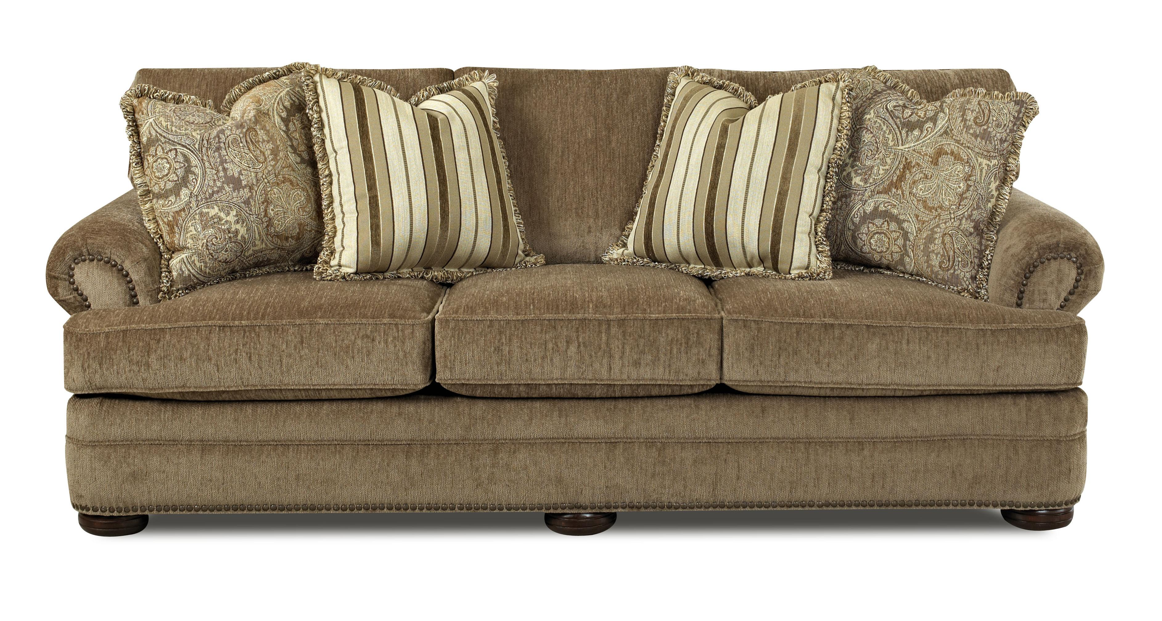 Tolbert traditional sofa with rolled arms and fringe for Traditional sofas and loveseats