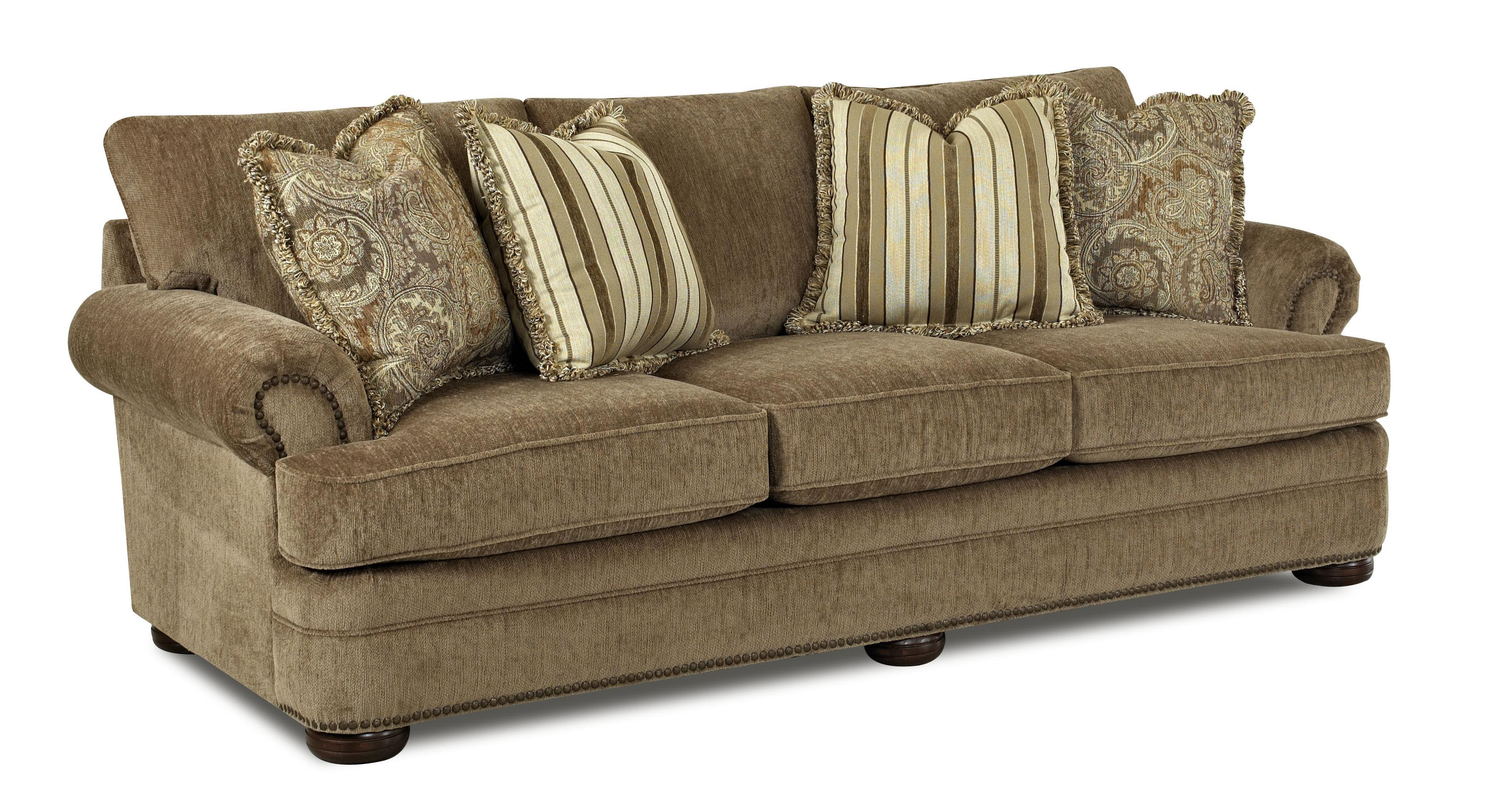 Tolbert traditional sofa with rolled arms and fringe for Traditional sofa