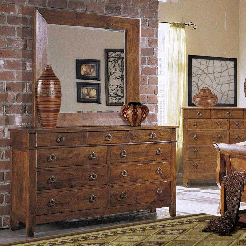 Tuscon mirror with beveled edge and rustic wood frame morris home dresser mirrors Morris home furniture hours