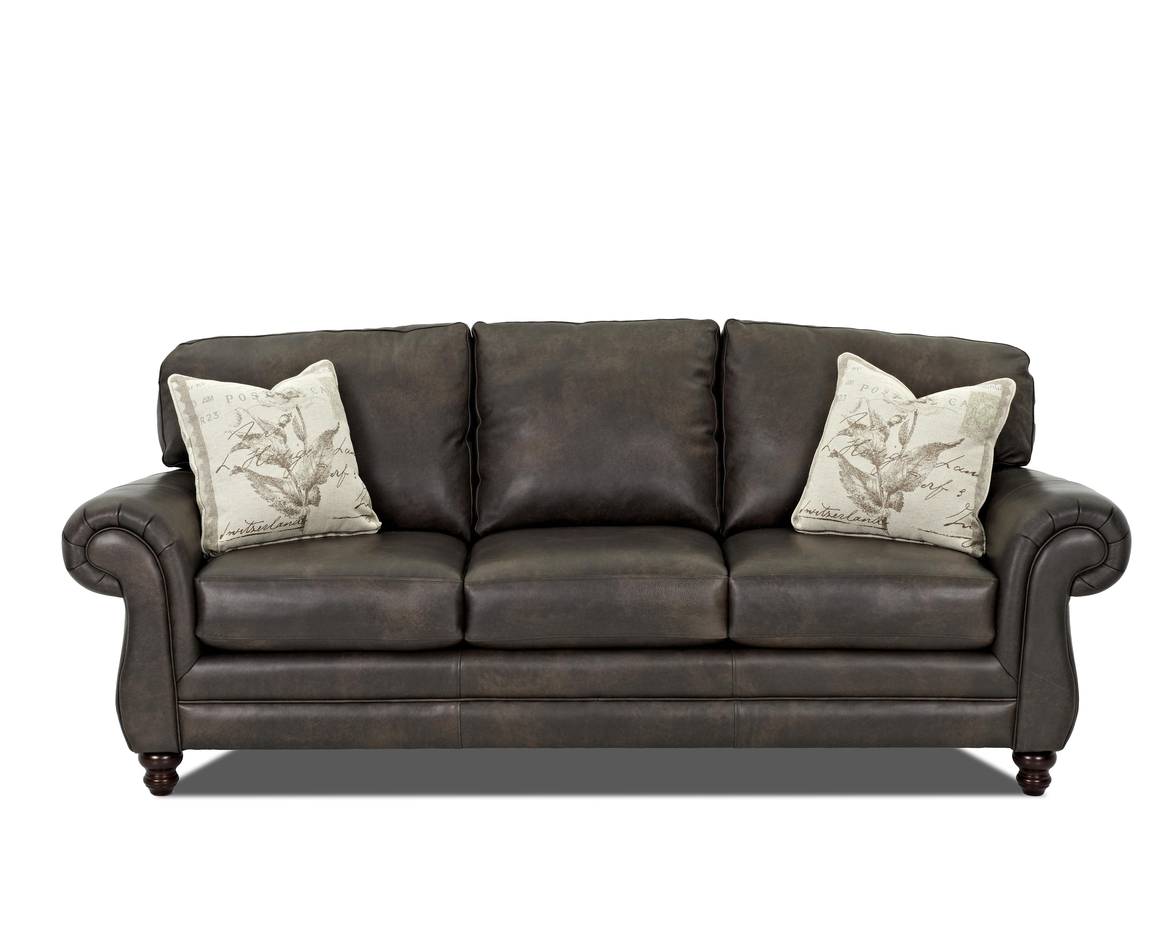 Throw Pillows For Leather Sectional : Klaussner Valiant Leather Sofa with Accent Pillows - Miskelly Furniture - Sofas