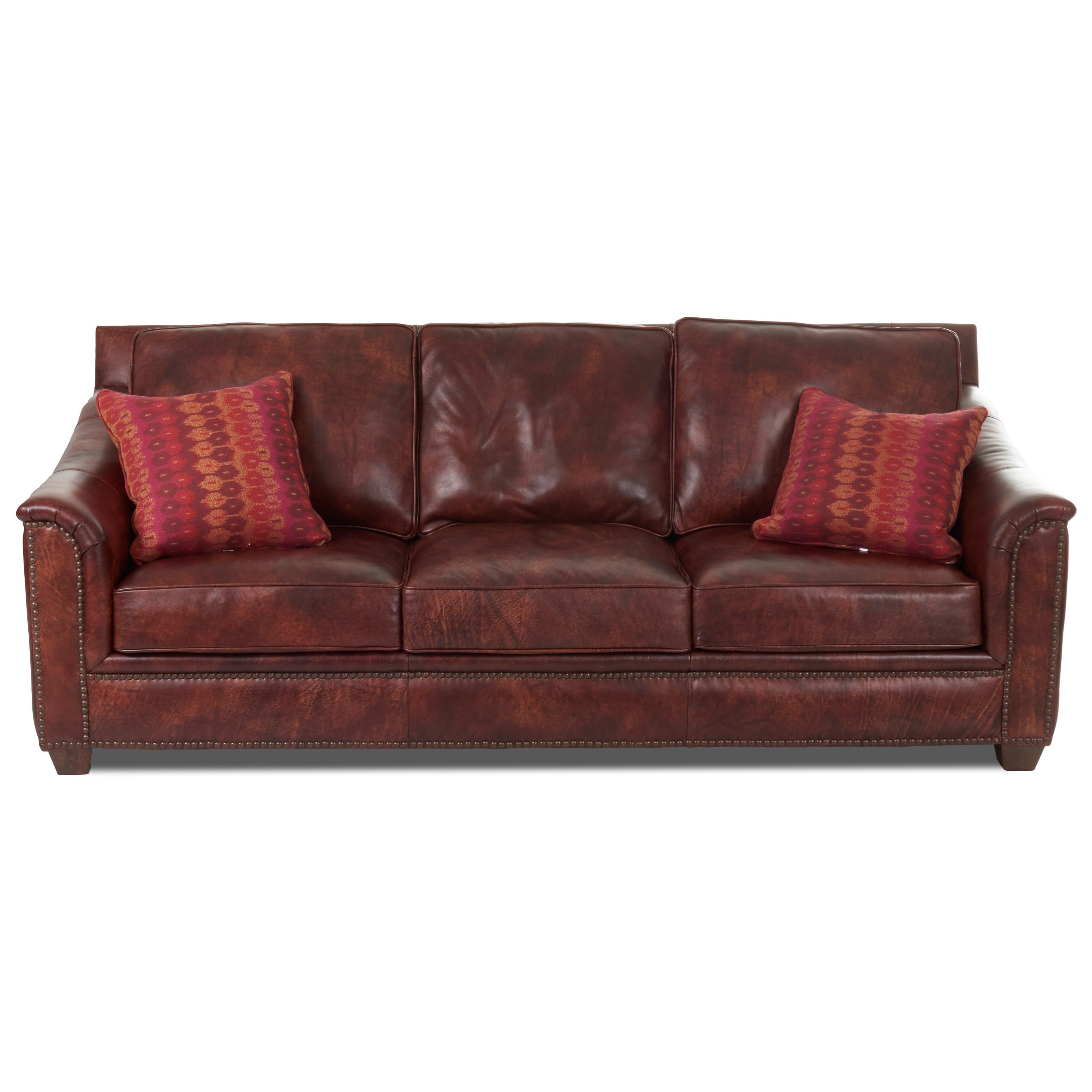 Klaussner wilkesboro ld43410ap s leather sofa with for Sofa with studs