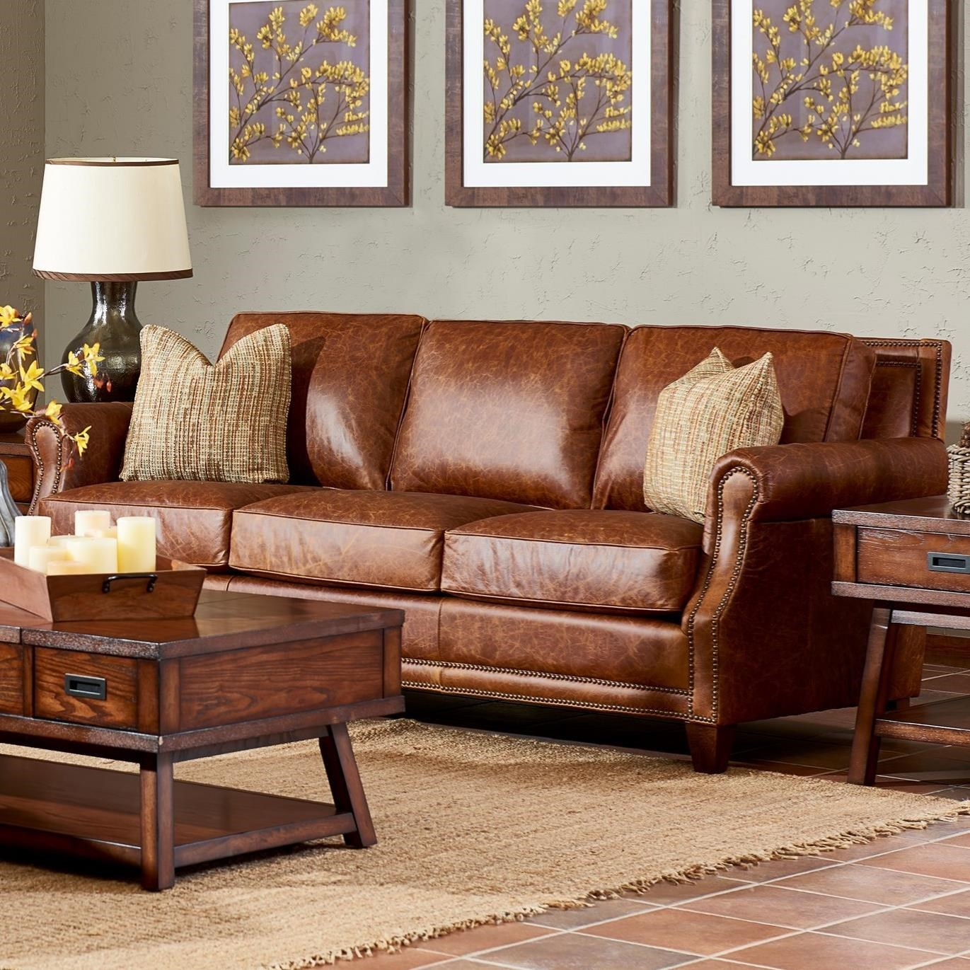 Klaussner york classically styled sofa with nail trim and arm pillows wayside furniture sofas - Sofa york ...