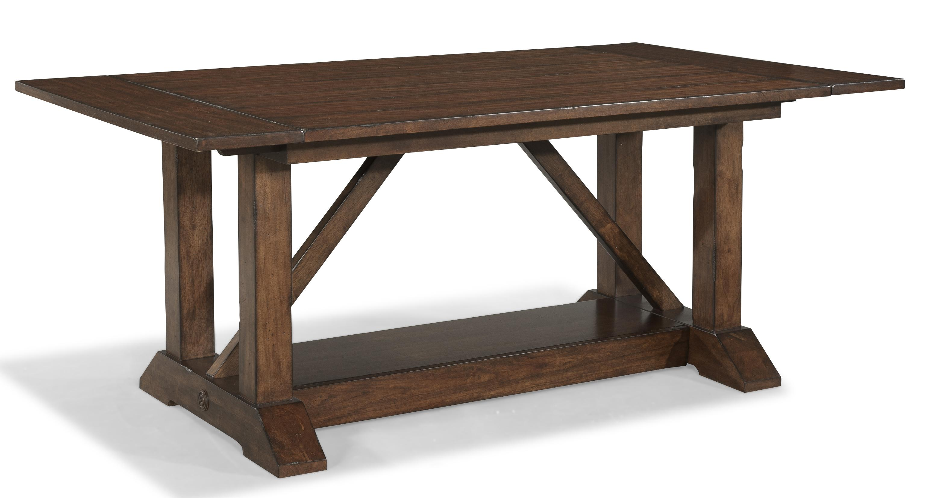 Livingston trestle table with 2 leaves morris home for Dining room table 2 leaves