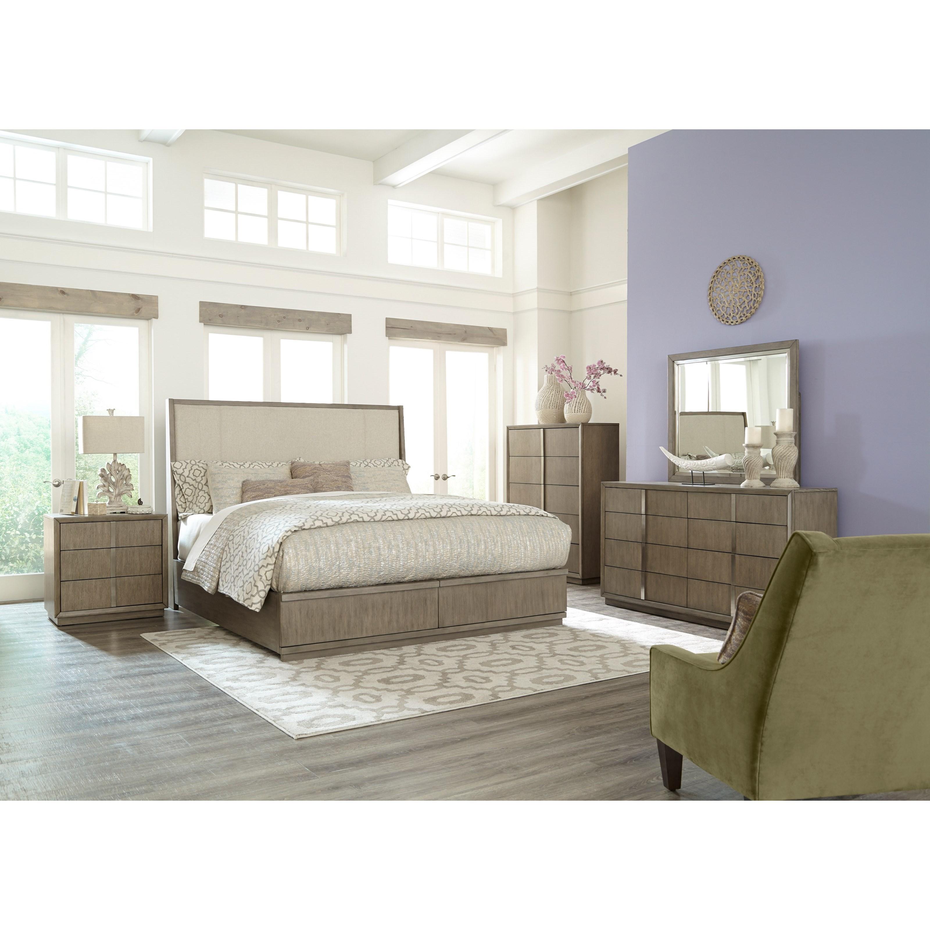 Klaussner international melbourne queen bedroom group for Bedroom groups