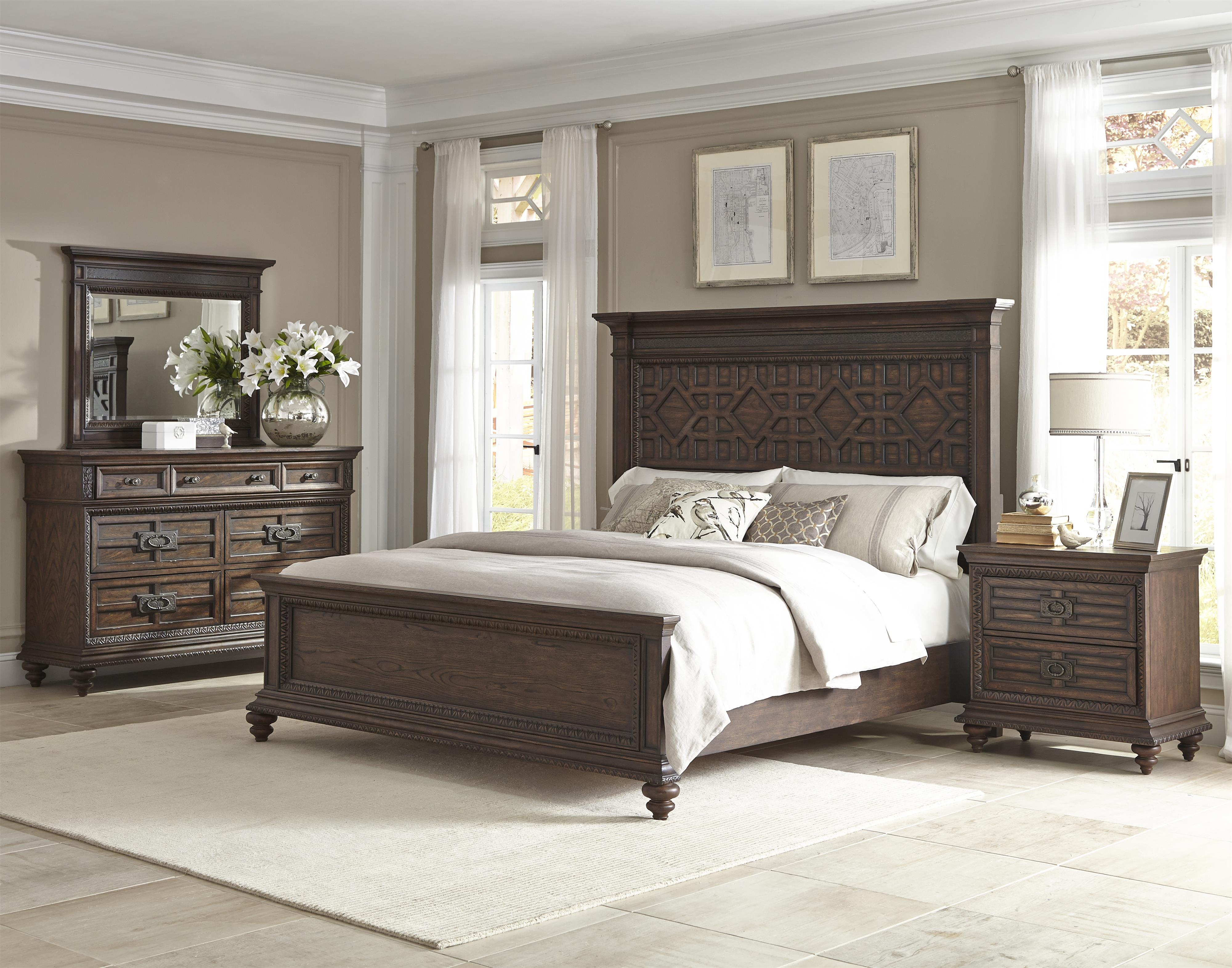 Klaussner international palencia queen panel bed with for International decor furniture