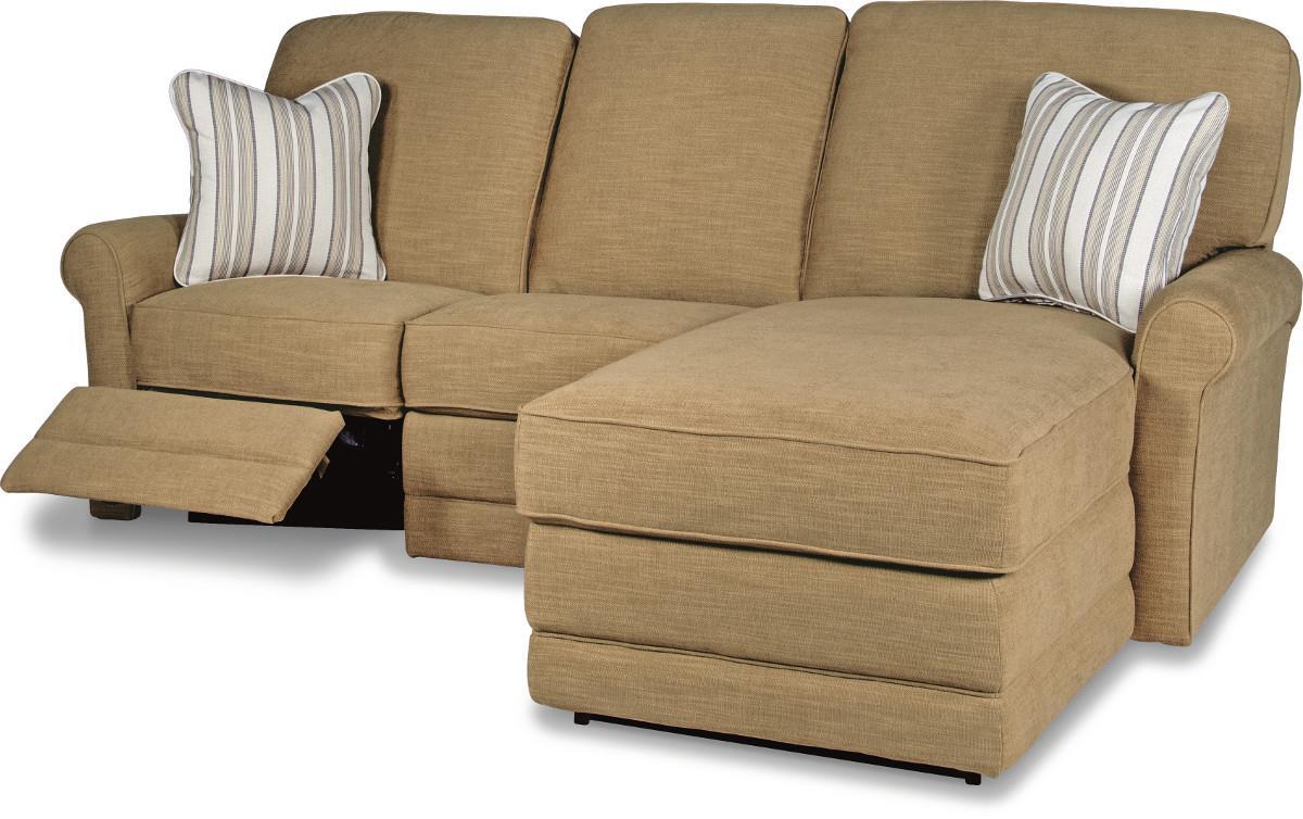 La z boy addison two piece reclining sectional sofa with for Sectional sofa with two recliners
