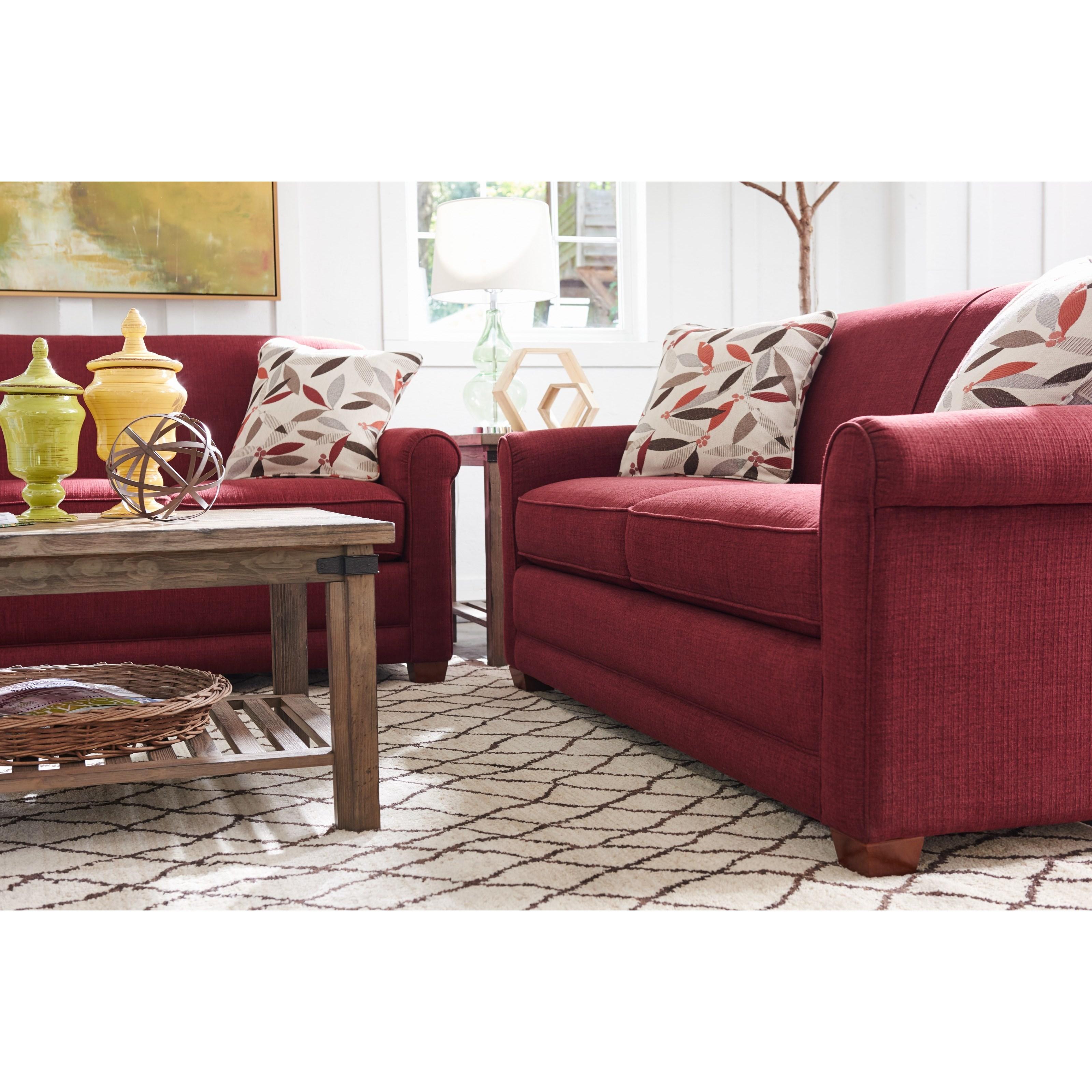 La z boy amanda casual apartment size sofa with premier for Apartment size sofa dimensions