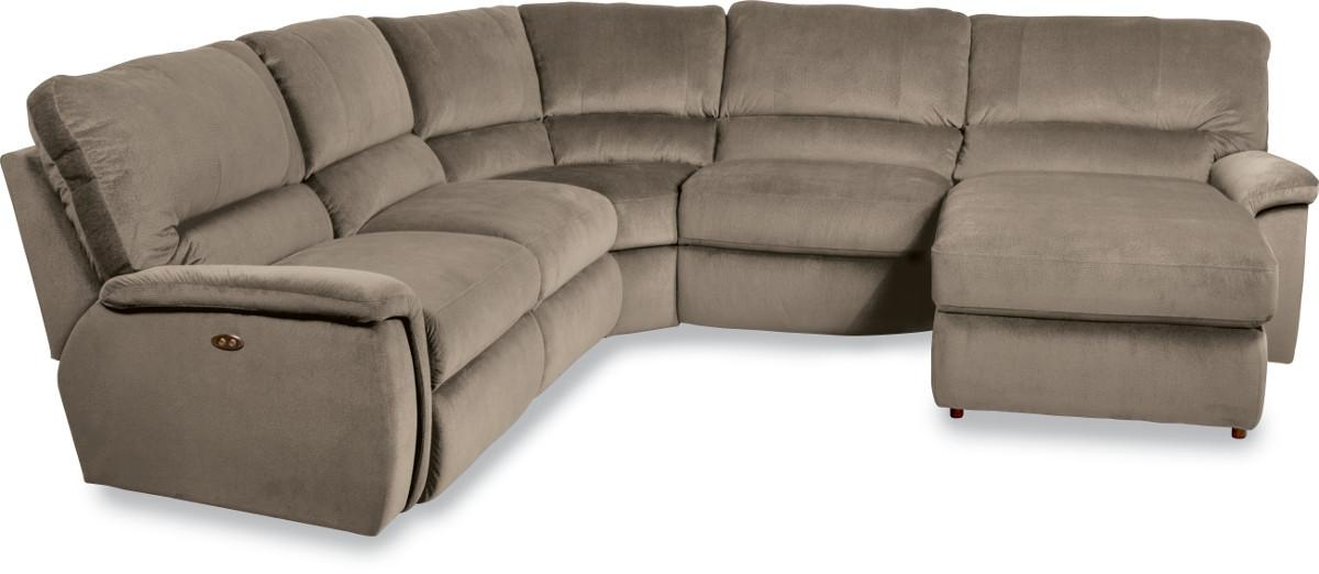 Aspen five piece reclining sectional sofa with las for Lazy boy sectional sofa with chaise