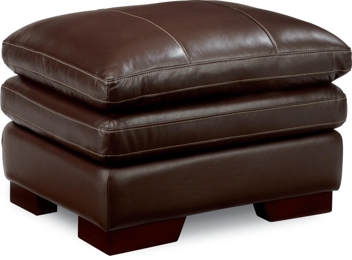 La-Z-Boy Dexter Casual Ottoman With Wood Block Legs And Pillow Top Cushion   VanDrie Home ...